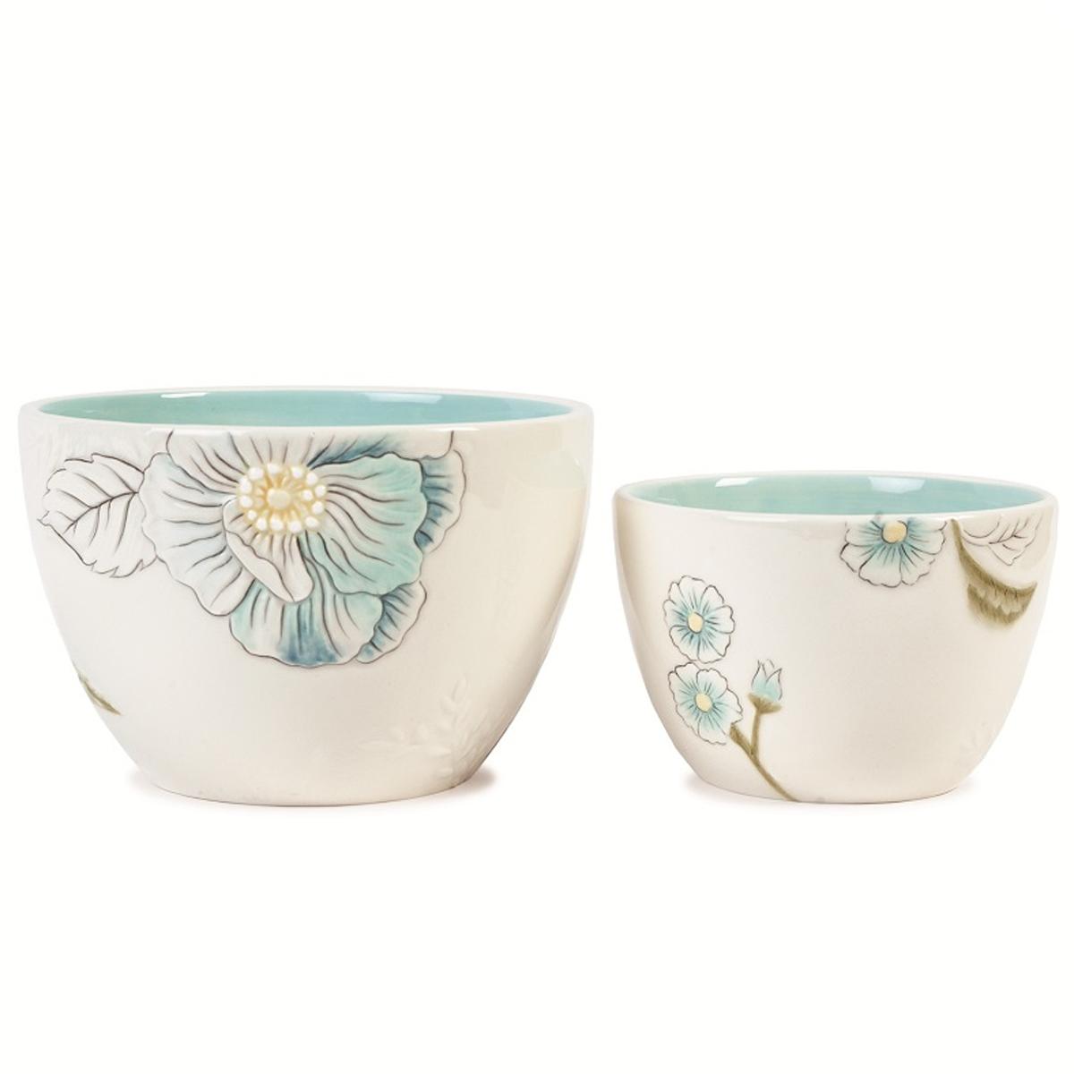 Набор чаш Fitz and Floyd Цветок, 2 шт20-286Набор Fitz and Floyd Цветок состоит из 2 чаш, изготовленных из высококачественной керамики и оформленных рельефным узором. Такие чаши станут украшением вашей кухни, а также замечательным подарком всем ценителям красоты. Рекомендуется мыть вручную. Объем чаш: 450 мл, 980 мл. Диаметр по верхнему краю: 11,5 см, 15 см. Высота стенок чаш: 7,7 см, 10 см.