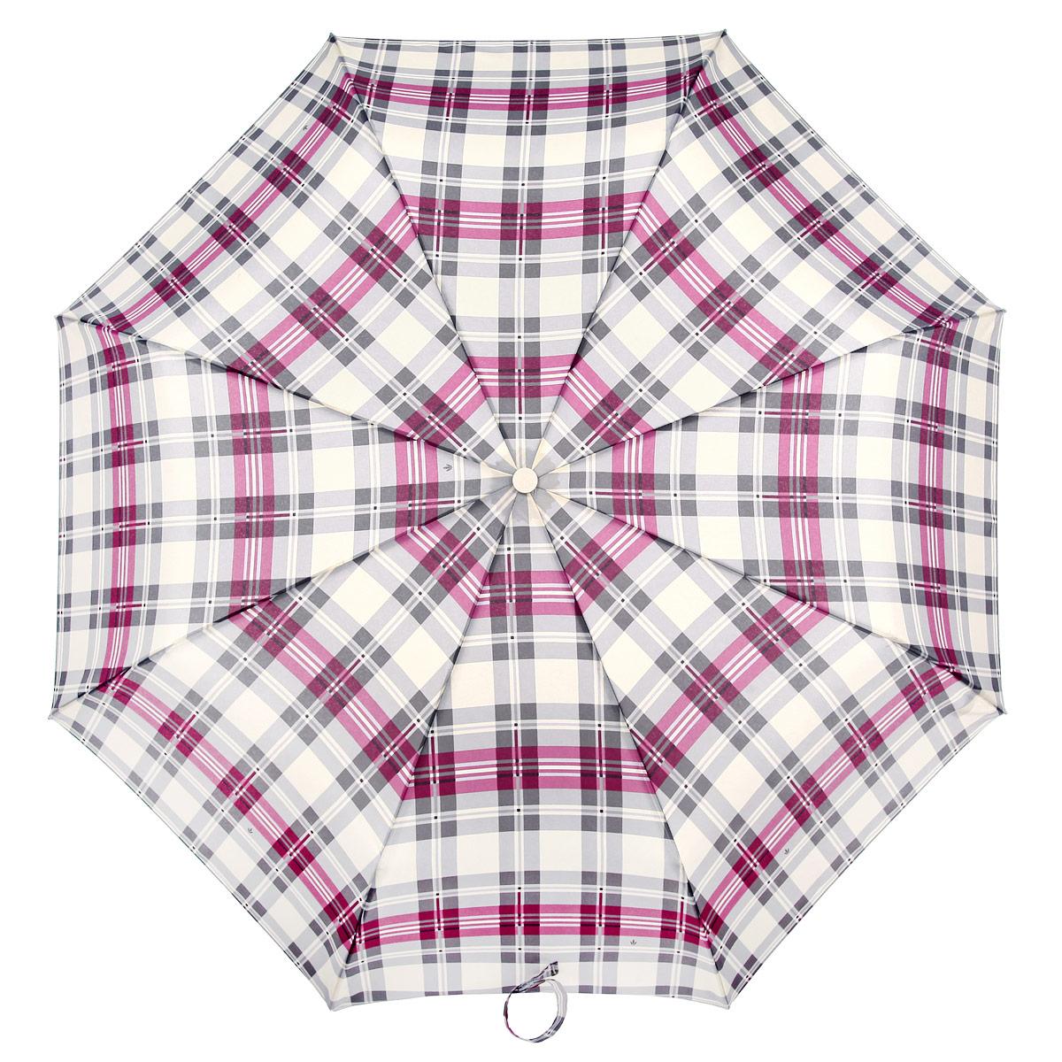 Зонт женский Fulton Minilite-2. Highland Plaid, механический, 3 сложения, цвет: серый, фиолетовый. L354-2937L354-2937Очаровательный механический зонтик Minilite. Highland Plaid в 3 сложения изготовлен из высокопрочных материалов. Каркас зонта состоит из 8 спиц и прочного алюминиевого стержня. Купол зонта выполнен из прочного полиэстера с водоотталкивающей пропиткой и оформлен изображением в виде клеток. Рукоятка изготовлена из пластика. Зонт имеет механический механизм сложения: купол открывается и закрывается вручную до характерного щелчка. Небольшой шнурок, расположенный на рукоятке, который позволяет надеть изделие на руку при необходимости. Модель закрывается при помощи хлястика на липучку. К зонту прилагается чехол. Прелестный зонт не только выручит вас в ненастную погоду, но и станет стильным аксессуаром, прекрасно дополнит ваш модный образ.