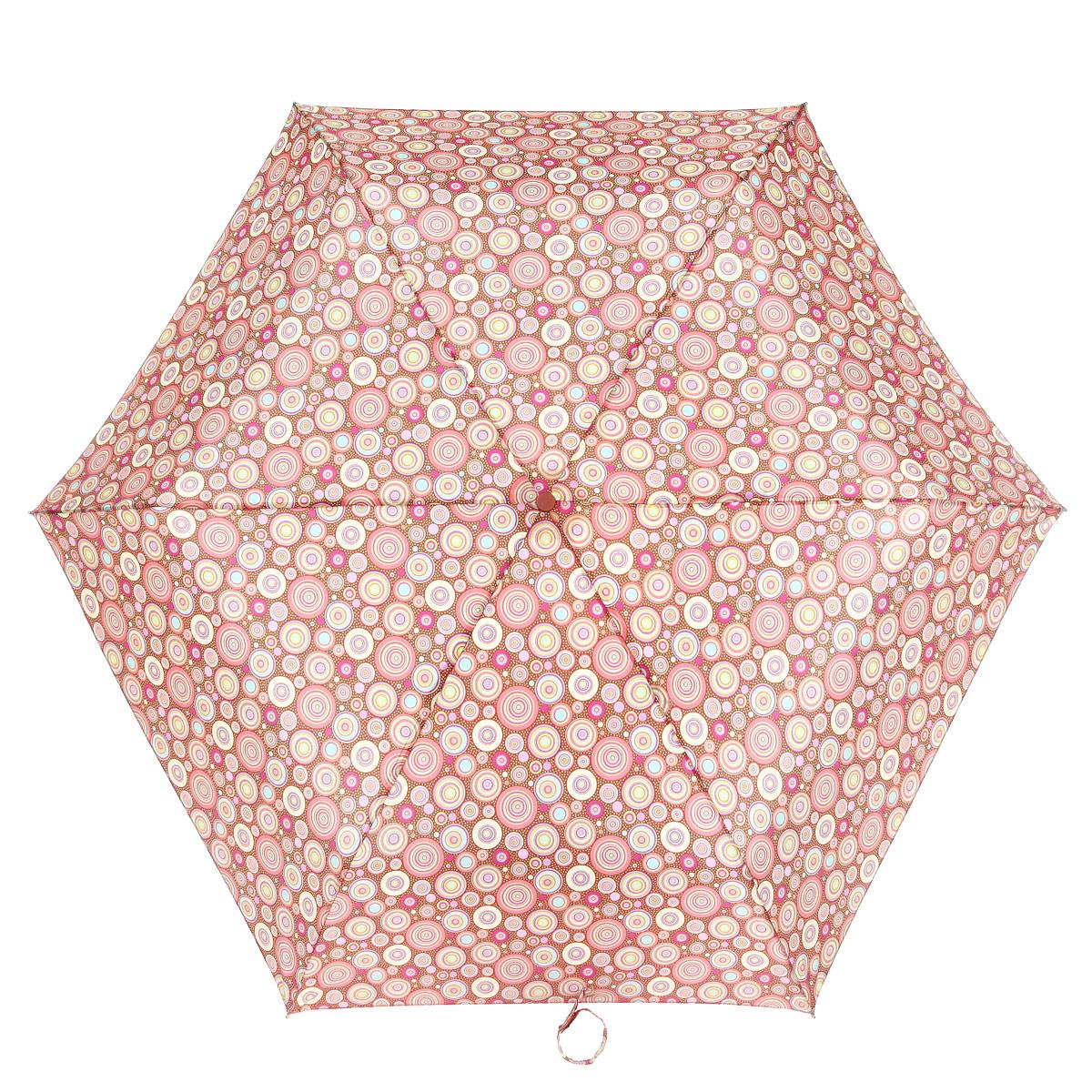 Зонт женский Fulton Superslim-2. Kaleidoscope, автомат, 3 сложения, цвет: розовый. желтый, коричневый. J739-2419J739-2419Очаровательный автоматический зонт Superslim. Kaleidoscope в 3 сложения изготовлен из высокопрочных материалов. Каркас зонта состоит из 6 спиц и прочного алюминиевого стержня. Купол зонта выполнен из прочного полиэстера с водоотталкивающей пропиткой и оформлен изображением в виде разноцветных кругов. Рукоятка изготовлена из пластика. Зонт имеет автоматический механизм сложения: Зонт имеет автоматический механизм сложения: купол открывается и закрывается нажатием кнопки на рукоятке, стержень складывается вручную до характерного щелчка, благодаря чему открыть и закрыть зонт можно одной рукой, что чрезвычайно удобно при входе в транспорт или помещение. Небольшой шнурок, расположенный на рукоятке, позволяет надеть изделие на руку при необходимости. Модель закрывается при помощи хлястика на липучку. К зонту прилагается чехол. Прелестный зонт не только выручит вас в ненастную погоду, но и станет стильным аксессуаром, прекрасно дополнит ваш модный образ.