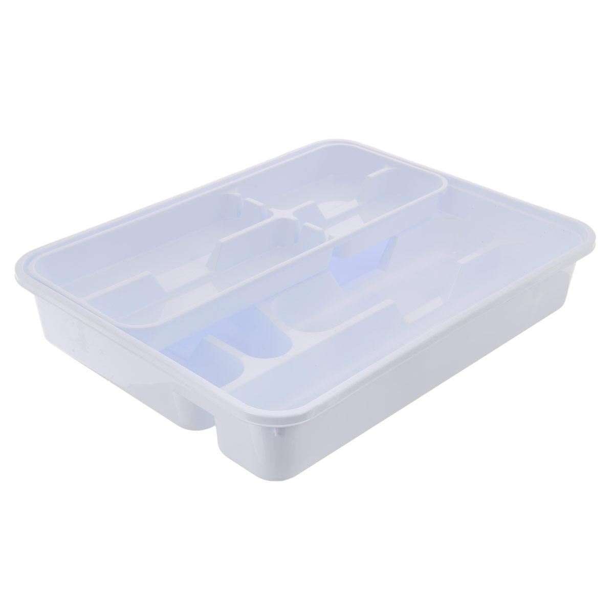 """Лоток для столовых приборов """"Dunya Plastik"""", двойной, цвет: белый, 39 х 31 см"""