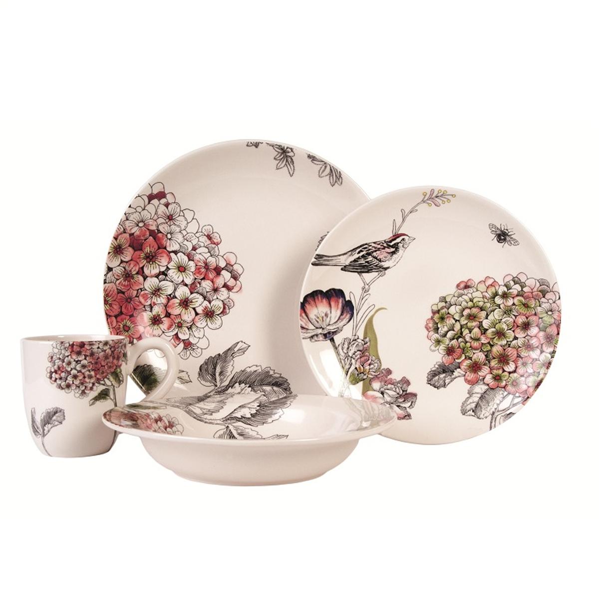 Набор посуды Fitz and Floyd Гортензия, 4 предмета20-310Набор посуды Fitz and Floyd Гортензия выполнен из высококачественной керамики. Изделия декорированы изображением птицы и цветов. Набор состоит из четырех предметов: глубокой, суповой, плоской тарелок и кружки. Посуда из керамики отличается превосходным качеством. Двойной обжиг, насыщенные цвета, удивительный блеск глазури и уникальная ручная роспись. Этот прекрасный цветочный декор создает особенное, праздничное, настроение и станет настоящим украшением вашего стола. Не рекомендуется мыть в посудомоечной машине. Диаметр большой тарелки: 27,5 см. Высота большой тарелки: 2 см. Диаметр плоской тарелки: 23 см. Высота плоской тарелки: 1,5 см. Диаметр суповой тарелки: 23 см. Высота суповой тарелки: 3 см. Объем кружки: 200 мл. Диаметр кружки (по верхнему краю): 9 см. Высота кружки: 10 см.
