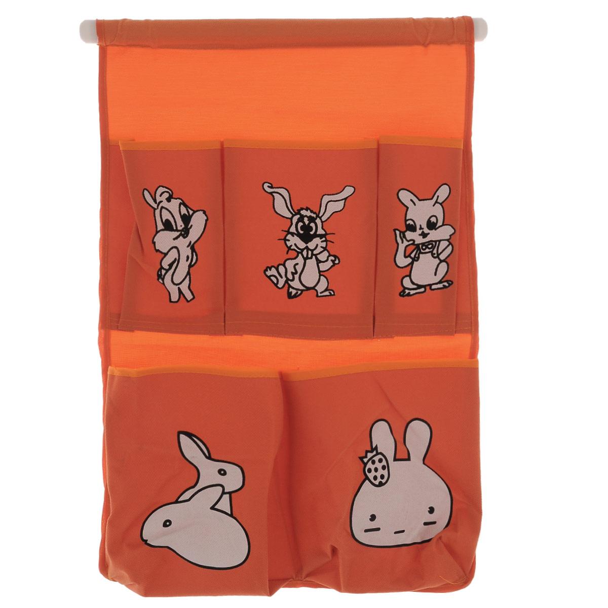 Органайзер для хранения Sima-land Зайчата, цвет: оранжевый, 5 отделений423810_оранжевыйОрганайзер Sima-land, изготовленный из текстиля, предназначен для хранения необходимых вещей, множества мелочей в гардеробной, ванной, детской комнатах. Изделие оснащено 5 кармашками, пришитыми к текстильному полотну. Этот нужный предмет может стать одновременно и декоративным элементом комнаты. Размер самого большого отделения (ДхШ): 14,5 см х 16 см. Размер самого маленького отделения (ДхШ): 13,5 см х 7,5 см.
