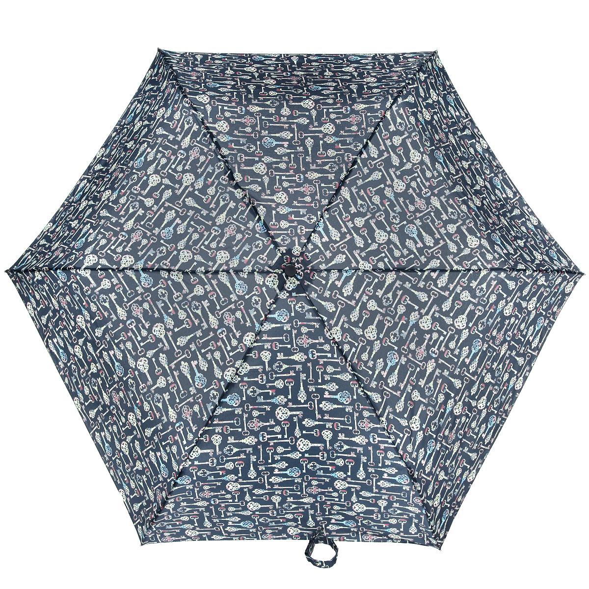 Зонт женский Fulton Superslim-2. Kaleidoscope, механический, 5 сложений, цвет: черный, желтый. L553-2930L553-2930Очаровательный механический зонтик Superslim-2. Kaleidoscope в 5 сложений изготовлен из высокопрочных материалов. Каркас зонта состоит из 6 спиц и прочного алюминиевого стержня. Купол зонта выполнен из прочного полиэстера с водоотталкивающей пропиткой и оформлен изображением в виде антикварных ключей. Рукоятка изготовлена из пластика. Зонт имеет механический механизм сложения: купол открывается и закрывается вручную до характерного щелчка. Небольшой шнурок, расположенный на рукоятке, позволяет надеть изделие на руку при необходимости. Модель закрывается при помощи хлястика на липучку. К зонту прилагается чехол. Прелестный зонт не только выручит вас в ненастную погоду, но и станет стильным аксессуаром, прекрасно дополнит ваш модный образ.
