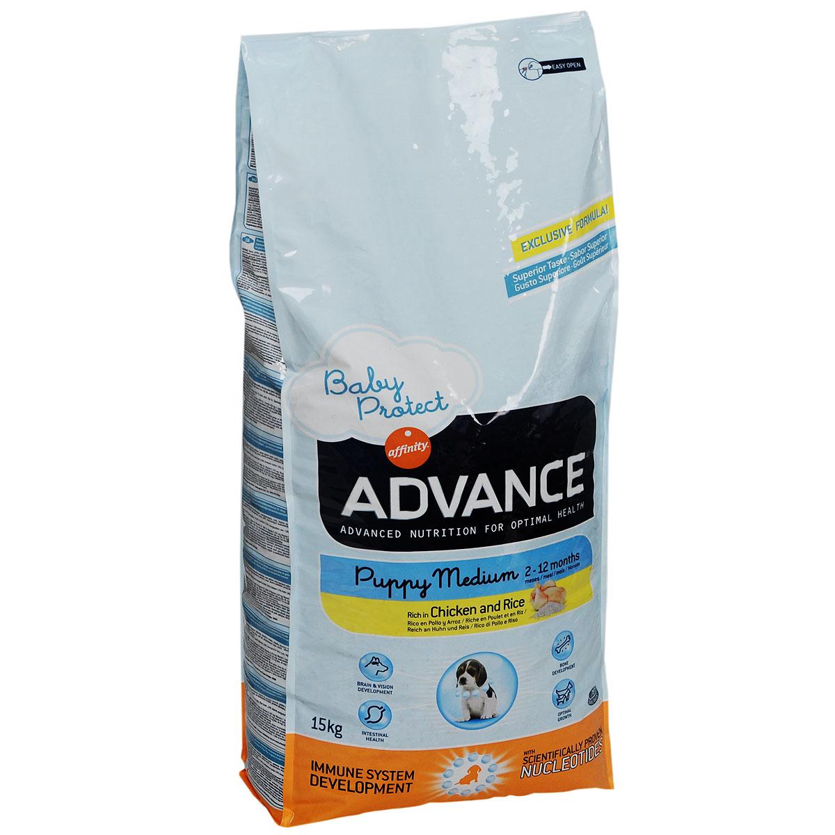 Корм сухой Advance Dog Medium Puppy для щенков средних пород, с курицей и рисом, 15 кг29650Корм сухой Advance Dog Medium Puppy предназначен для щенков средних пород в период роста от 2 до 12 месяцев (вес взрослой собаки составляет 10 - 30 кг), а так же для беременных и кормящих сук. Высокое содержание протеинов - необходимо для развития мускулатуры щенка и удовлетворения повышенных энергетических потребностей, соответствующих периоду роста. Оптимальное соотношение кальций - фосфор - для безукоризненного развития костей растущего щенка. Жирные кислоты Омега 3 - помогают надлежащему формированию центральной нервной системы и зрения щенка в период его внутриутробного развития и после рождения. Состав: курица 20%, рис 17%, дегидрированые белки из домашней птицы, кукурузная клейковинная мука, кукуруза, животные жиры, пшеница, гидролизованные животные белки, свекольная масса, рыбий жир, плазматические белки, яичный порошок, пивные дрожжи, хлористый калий, цитрусовые экстракты богатые биофлавоноидами, таурин, DL-метионин. Пищевые добавки: белок 30%,...