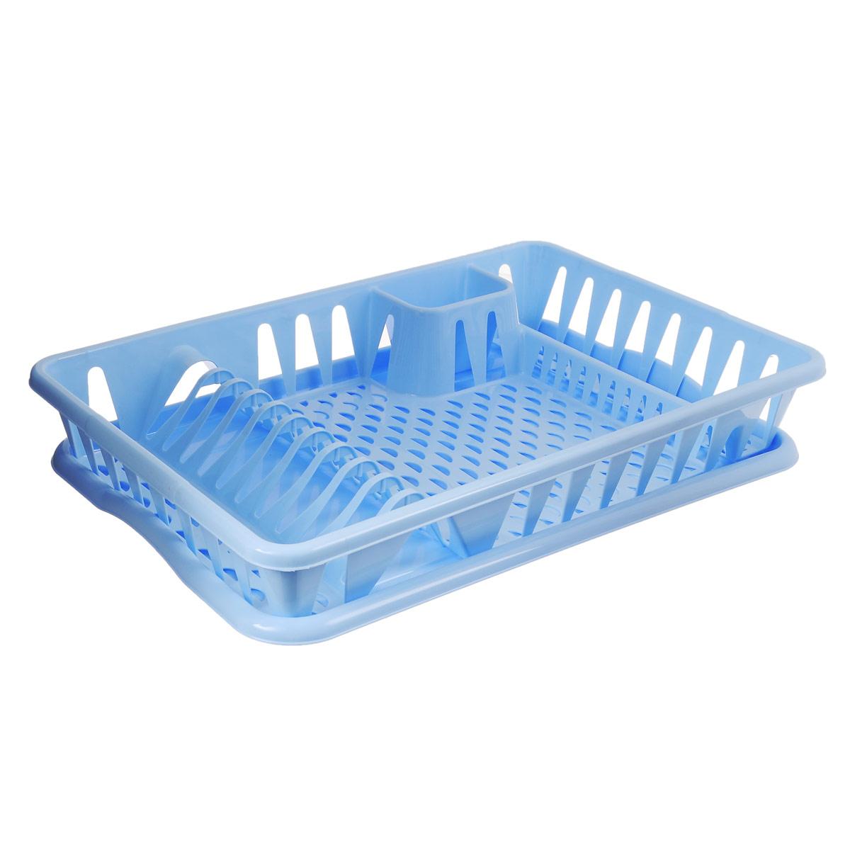 Сушилка для посуды Idea, с поддоном, цвет: голубой, 50 х 32,5 х 8 смМ 1169Сушилка Idea, выполненная из прочного пластика, представляет собой решетку с ячейками, в которые помещается посуда: тарелки, кружки, ложки, ножи. Изделие оснащено пластиковым поддоном для стекания воды. Сушилку можно установить в любом удобном месте. На ней можно разместить большое количество предметов. Вместительные размеры и оригинальный дизайн выделяют эту сушку из ряда подобных. Размер сушилки: 46,5 см х 37 см х 9 см. Размер поддона: 48,5см х 32 см х 2,5 см.