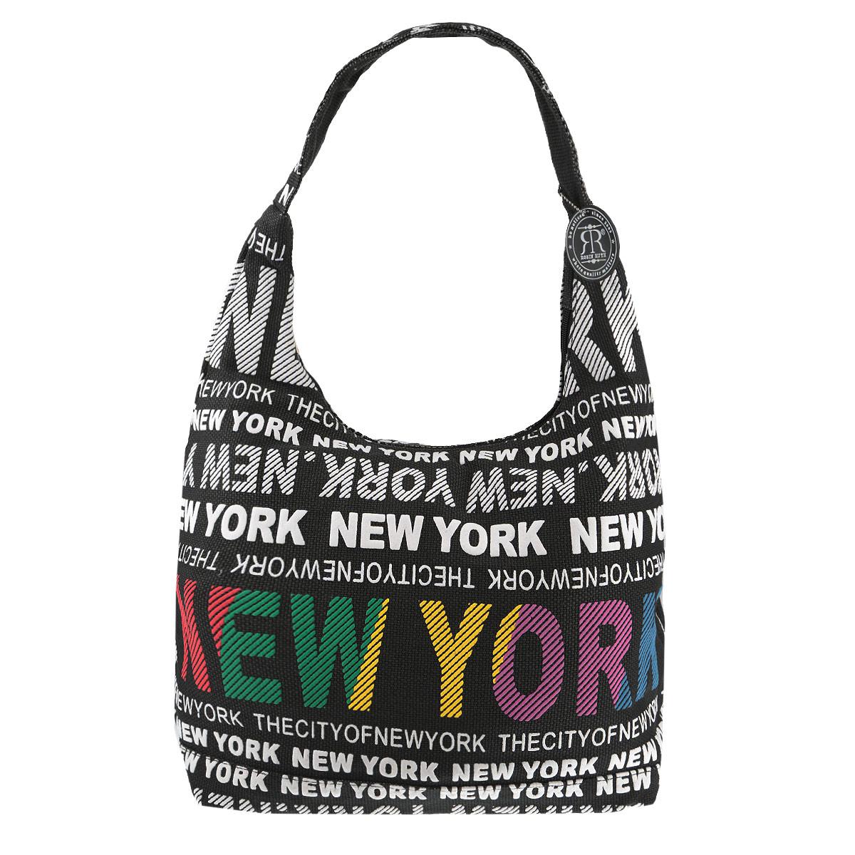 Сумка женская Robin Ruth New York, цвет: черный, белый. BNY504-XBNY504-XОригинальная женская сумка New York выполнена из канваса и дополнена ярким принтом с надписями. Изделие содержит одно основное отделение, закрывающееся на застежку-молнию. Внутри - врезной карман на молнии и накладной кармашек для телефона. Сумка оснащена практичной лямкой, которая дополнена брелоком на цепочке. Стильная сумка позволит вам подчеркнуть свою индивидуальность, и сделает ваш образ завершенным.