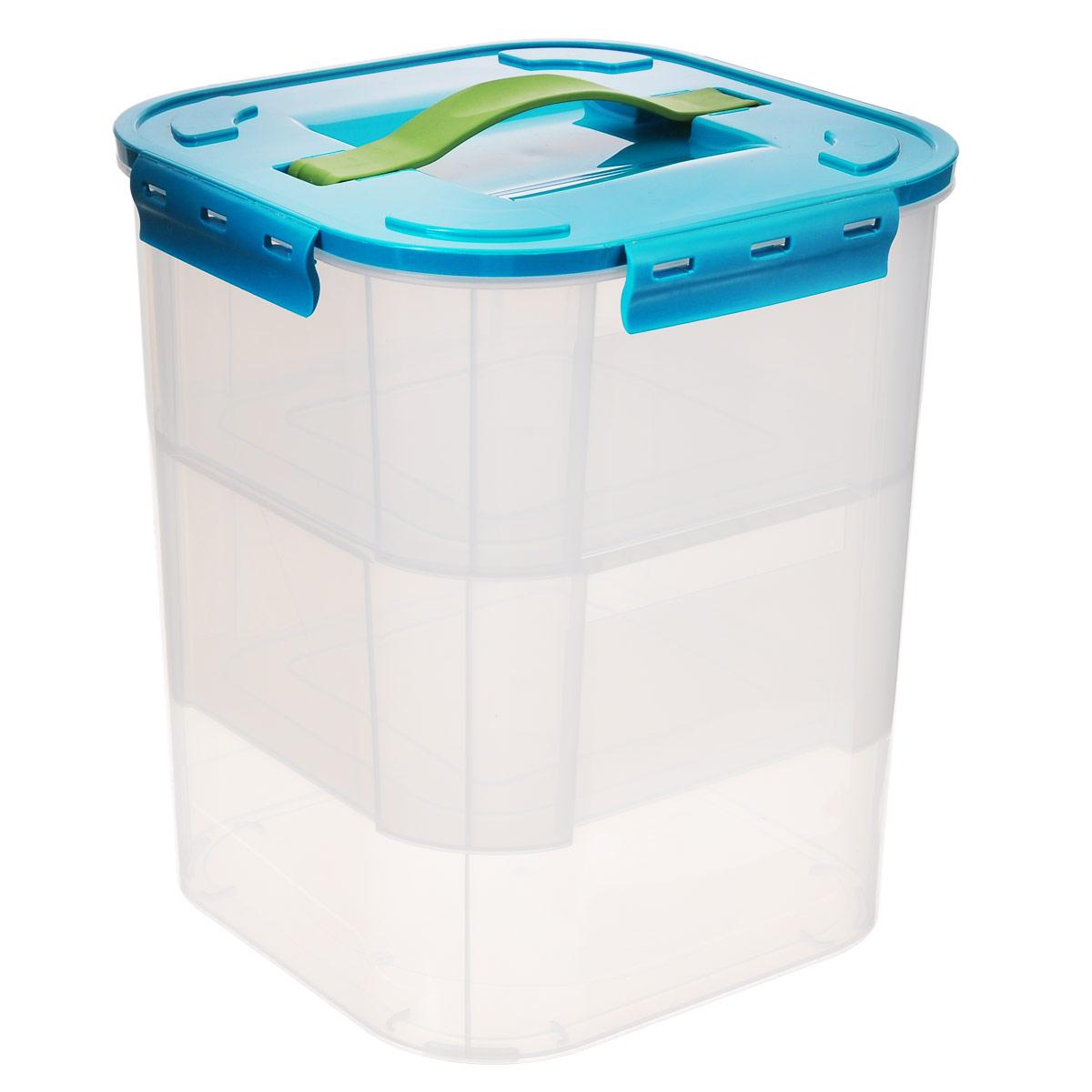 Контейнер Idea, с двумя вкладышами, цвет: бирюзовый, 10 лМ 2828_бирюзаКонтейнер Idea выполнен из прозрачного пластика. Внутрь вставляются 2 вкладыша, что позволяет удобно отделять одни предметы от других. Контейнер идеально подойдет для любых мелких бытовых предметов: канцелярии, принадлежностей для шитья и многого другого. Контейнер плотно закрывается цветной крышкой с 4 защелками. Для удобства переноски сверху имеется ручка, выполненная из термоэластопласта. Контейнер Idea очень вместителен и поможет вам хранить все мелочи в одном месте.