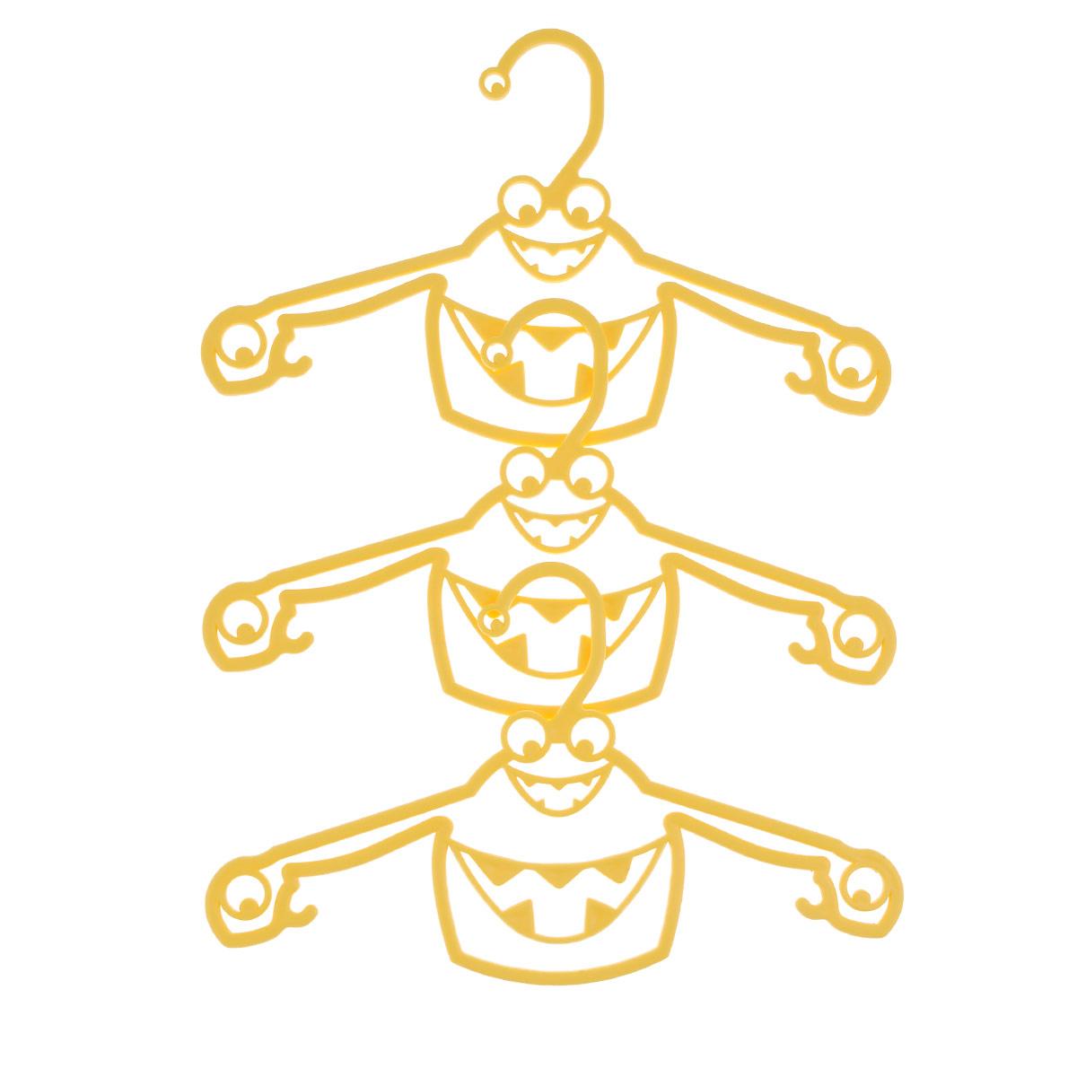 Набор вешалок Пластишка, с крючками, цвет: желтый, 3 штС13024Набор Пластишка, изготовленный из прочного полипропилена, состоит из 3 детских вешалок для одежды с закругленными плечиками. Изделия оснащены крючками. Вешалка - это незаменимая вещь для того, чтобы ваша одежда всегда оставалась в хорошем состоянии. Комплектация: 3 шт.