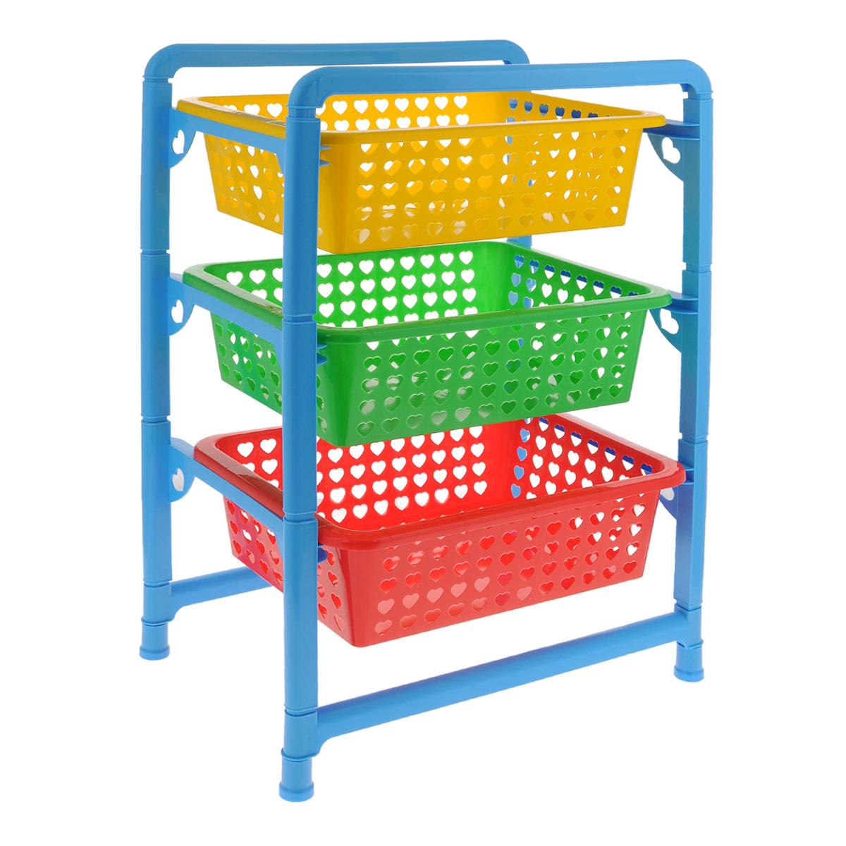 Этажерка для игрушек Альтернатива, 3-х секционная, 45 см х 31 см х 64 смМ1273Этажерка для игрушек Альтернатива выполнена из высококачественного прочного пластика. Разноцветные ящики украшены перфорацией в виде сердечек. Этажерка содержит три секции для хранения игрушек. Быстро складывается и раскладывается. Этажерка - идеальное решение для детской комнаты. Она поможет поддерживать чистоту в детской и хранить игрушки в порядке, а стильный дизайн сделает этажерку ярким украшением интерьера. Размер этажерки (ДхШхВ): 45 см х 31 см х 64 см. Размер ящика (ДхШхВ): 40 см х 30 см х 12 см.