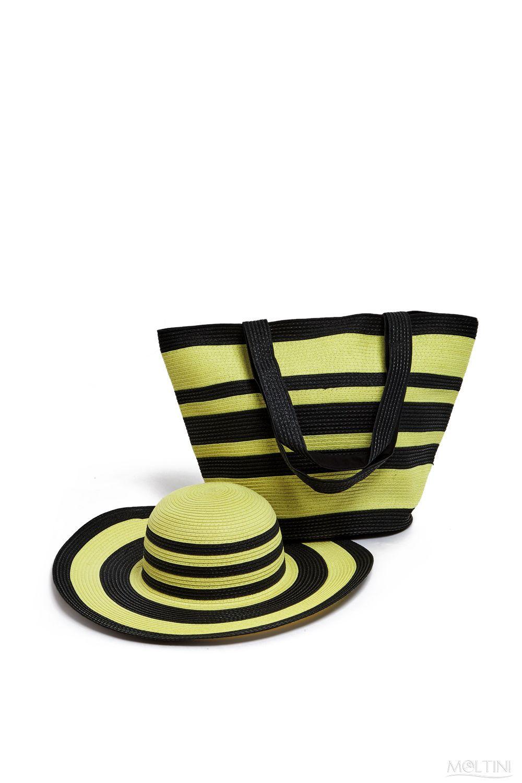 Комплект Moltini: сумка, шляпа, цвет: желтый, черный. 15J01815J018Оригинальный пляжный комплект Moltini, состоящий из сумки и шляпы, выполнен из плотного текстиля. Комплект выполнен в едином стиле и оформлен контрастными цветами. Сумка состоит из одного вместительного отделения и закрывается на магнитную кнопку. Внутри размещены два накладных кармана для телефона и мелочей и один вшитый карман на молнии. Оригинальная форма ручек и натуральные материалы делают эту сумку особенно удобной и практичной. Шляпа надежно защитит волосы и лицо от ярких солнечных лучей. Шляпа выполнена в едином стиле с сумкой и достойно завершит комплект. Комплект Moltini идеально подойдет для похода на пляж или загородной поездки.