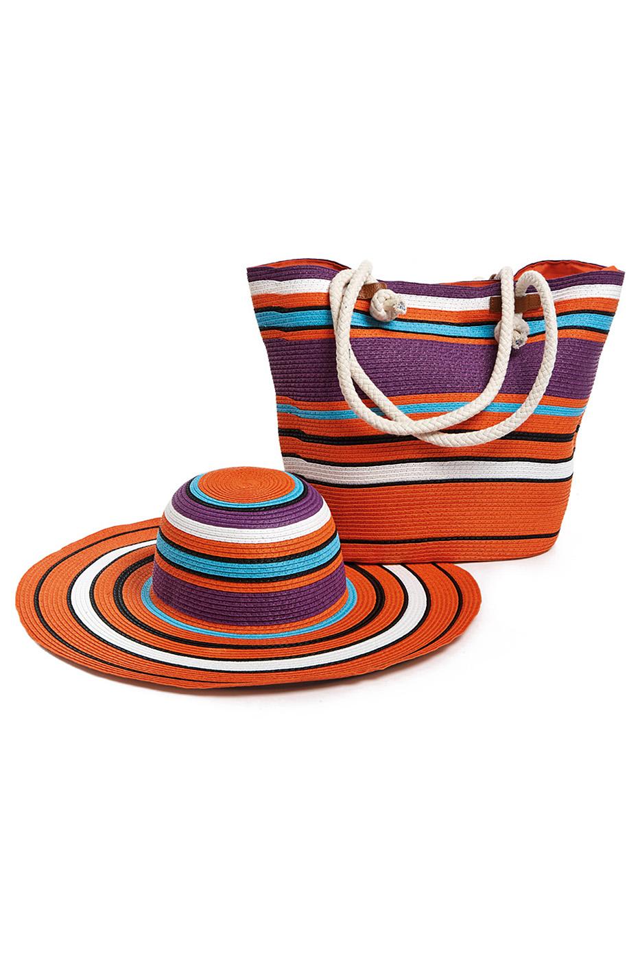 Комплект Moltini: сумка, шляпа, цвет: оранжевый, фиолетовый. 15V01715V017Оригинальный пляжный комплект Moltini, состоящий из сумки и шляпы, выполнен из плотного текстиля. Комплект выполнен в едином стиле и оформлен контрастными оттенками. Сумка состоит из одного вместительного отделения и закрывается на магнитную кнопку. Внутри размещены два накладных кармана для телефона и мелочей и один вшитый карман на молнии. Оригинальная форма ручек и натуральные материалы делают эту сумку особенно удобной для ношения на плече. Шляпа с широкими полями надежно защитит волосы и лицо от ярких солнечных лучей. Шляпа выполнена в едином стиле с сумкой и достойно завершит комплект. Комплект Moltini идеально подойдет для похода на пляж, для загородной поездки.