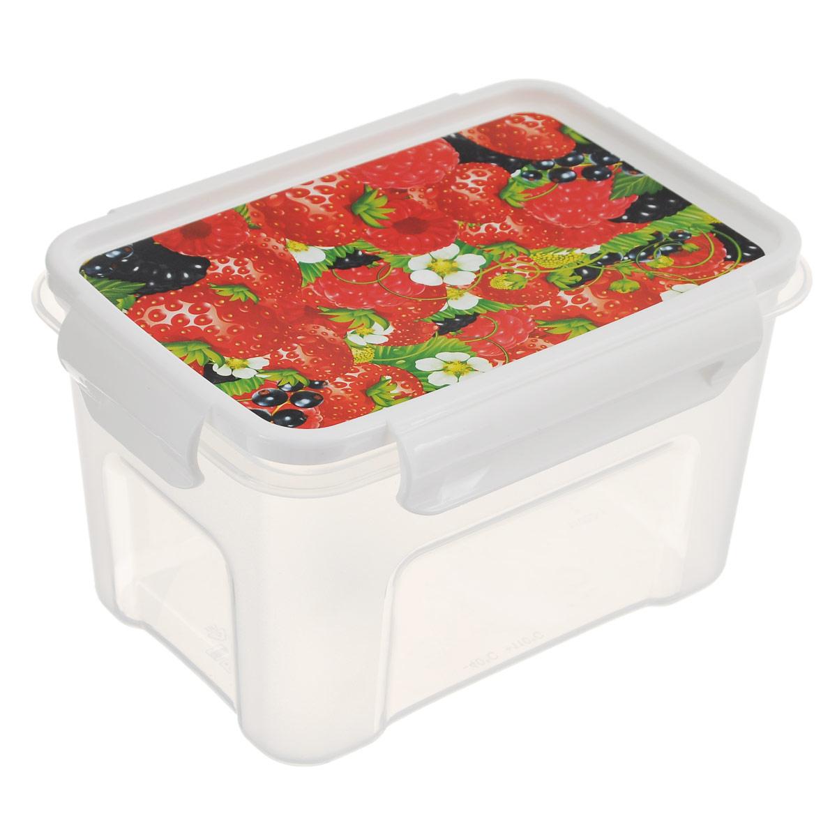 Контейнер Полимербыт Лок декор. Ягоды, цвет: прозрачный, 1,1 лС76201Контейнер Полимербыт Лок декор прямоугольной формы, изготовленный из прочного пластика, предназначен специально для хранения пищевых продуктов. Крышка, декорированная изображением ягод, легко открывается и плотно закрывается. Контейнер устойчив к воздействию масел и жиров, легко моется. Прозрачные стенки позволяют видеть содержимое. Контейнер имеет возможность хранения продуктов глубокой заморозки, обладает высокой прочностью. Можно мыть в посудомоечной машине. Подходит для использования в микроволновых печах.