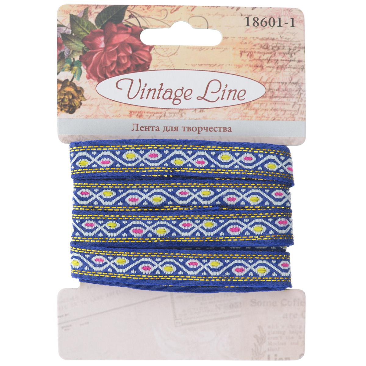 Лента декоративная Vintage Line, цвет: синий, 1 х 200 см7709649Декоративная лента Vintage Line выполнена из текстиля и оформлена оригинальным узором. Такая лента идеально подойдет для оформления различных творческих работ таких, как скрапбукинг, аппликация, декор коробок и открыток и многое другое. Лента наивысшего качества практична в использовании. Она станет незаменимым элементом в создании рукотворного шедевра. Ширина: 1 см. Длина: 2 м.