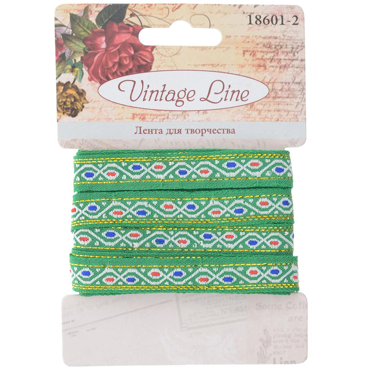 Лента декоративная Vintage Line, цвет: зеленый, 1 х 200 см7709650Декоративная лента Vintage Line выполнена из текстиля и оформлена оригинальным узором. Такая лента идеально подойдет для оформления различных творческих работ таких, как скрапбукинг, аппликация, декор коробок и открыток и многое другое. Лента наивысшего качества практична в использовании. Она станет незаменимым элементом в создании рукотворного шедевра. Ширина: 1 см. Длина: 2 м.