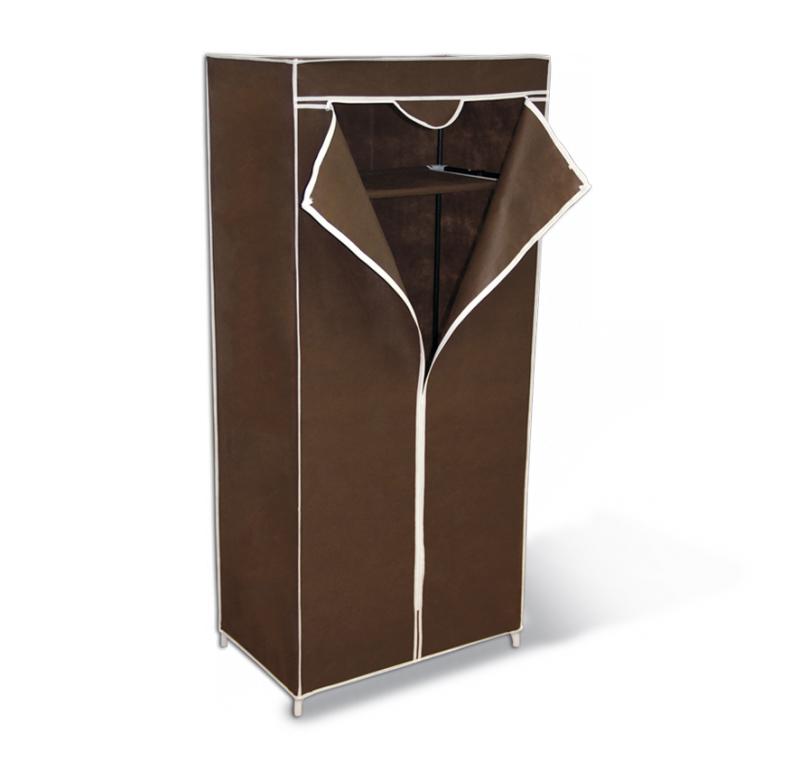 Мобильный шкаф Sheffilton, с чехлом, цвет: темно-коричневый, 70 см х 44 см х 155 см2012Вместительная вешалка-гардероб Sheffilton - это компактное и практичное решение для хранения вещей. Прочный и легкий каркас выполнен из металлических трубок и пластиковых соединительных крепежей. Чехол на молнии изготовлен из довольно плотного и прочного нетканого материала, он защитит вашу одежду от грязи, моли и влаги. Предусмотрена промежуточная полка для хранения вещей. Под полкой расположена металлическая штанга для вешалок-плечиков. Изделие полностью разборное и упаковано в плоскую тару. Максимальная нагрузка на штангу: 15 кг. Максимальная нагрузка на полку: 17 кг.