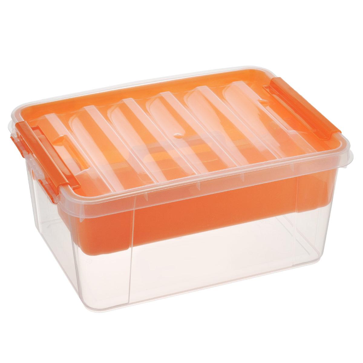 Ящик Полимербыт Профи, с вкладышем, цвет: оранжевый, 15 лС50801Вместительный ящик Полимербыт Профи выполнен из прозрачного пластика и предназначен для хранения различных предметов. Ящик оснащен удобной крышкой с рельефной поверхностью. Внутри ящика имеется съемный вкладыш с двумя глубокими секциями. Контейнер снабжен двумя пластиковыми фиксаторами по бокам, придающими дополнительную надежность закрывания крышки. Вместительный контейнер позволит сохранить различные нужные вещи в порядке, а герметичная крышка предотвратит случайное открывание, защитит содержимое от пыли и грязи. Размер внутренних секций: 36,5 см х 12,5 см х 9 см. Объем: 15 л.