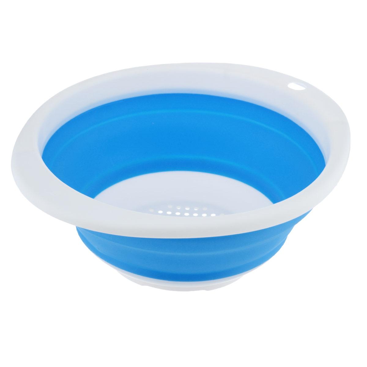 Дуршлаг Идея, складной, цвет: синий. CLD-02CLD-02_синийДуршлаг складной Идея, изготовленный из высококачественного пищевого силикона, станет полезным приобретением для вашей кухни. Он идеально подходит для процеживания, ополаскивания и стекания макарон, овощей, фруктов. Нельзя мыть и сушить в посудомоечной машине. Внутренний диаметр: 18 см. Размер (в разложенном виде): 23 см х 20 см х 9 см. Размер (в сложенном виде): 23 см х 20 см х 3 см.