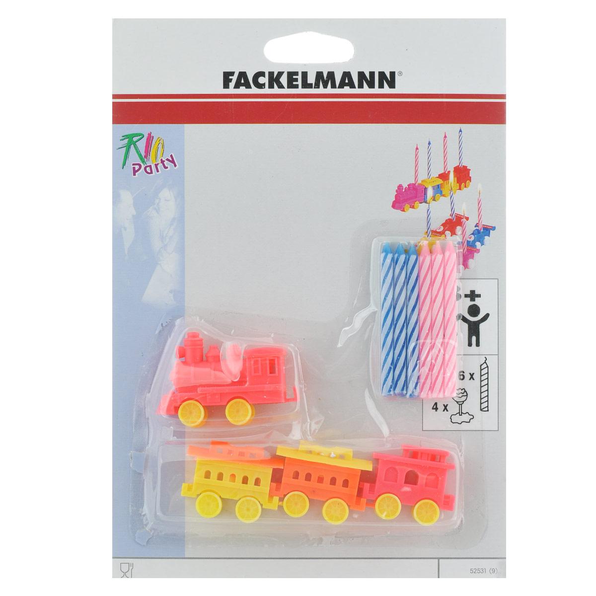 Свечи для торта Fackelmann Rio, с 4 подставками, 6 шт. 5253152531_поездСвечи для торта Fackelmann Rio выполнены из стеарина. Такие свечи предназначены для украшения торта, полностью сгорают за 10 минут. В комплекте - 4 подставки для свечей, изготовленных из пластика в виде паровозика с вагонами. Вставив такие свечи не просто в праздничный торт, а поместив их на подставки, вы доставите яркие эмоции и радость маленькому имениннику. Количество свечей: 6 шт. Количество подставок: 4 шт. Средний размер подставки: 1,6 см х 3,5 см х 1,6 см. Длина свечи: 6,2 см.