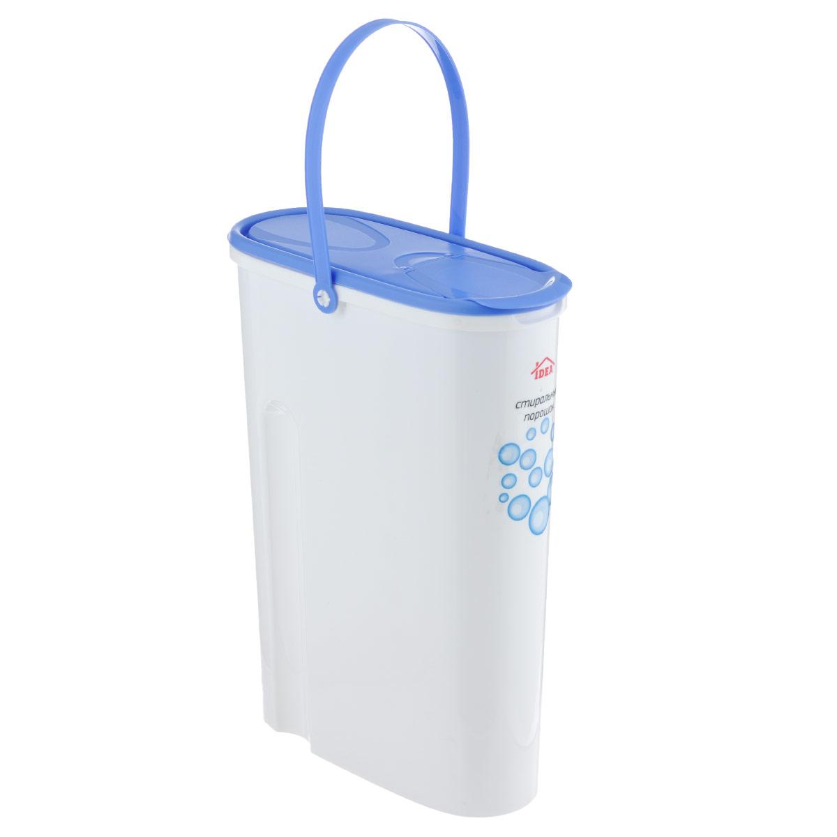 Контейнер для стирального порошка Idea, 5 лМ 1240Контейнер для стирального порошка Idea изготовлен из высококачественного пластика. Специальная удлиненная форма идеально подходит для хранения стирального порошка. Контейнер оснащен яркой, плотно закрывающейся крышкой, которая предотвращает распространение запаха. В крышке есть отверстие, через которое удобно высыпать или засыпать стиральный порошок. Для удобства переноски изделие снабжено прочной ручкой. Объем: 5 л.
