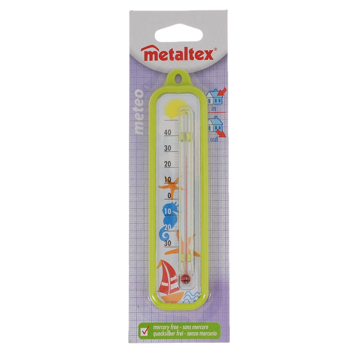 Термометр Metaltex Meteo, цвет: салатовый29.80.03Термометр Metaltex Meteo выполнен из пластика и оснащен шкалой с крупными цифрами. Он предназначен для измерения температуры воздуха в помещении. Экологически безопасный термометр - не содержит ртуть.