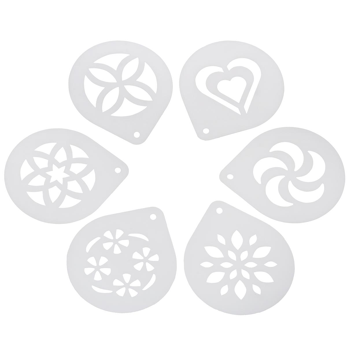 Трафареты для капучино Tescoma My Drink, 6 шт308850Трафареты для капучино Tescoma My Drink выполнены из высококачественного прочного пластика. В наборе 6 различных трафаретов, которые идеально подходят для стильного украшения пены капучино. Шаблон необходимо поместить чуть выше пены и слегка посыпать корицей или какао. Можно мыть в посудомоечной машине. Размер трафарета: 11,5 см х 10 см.