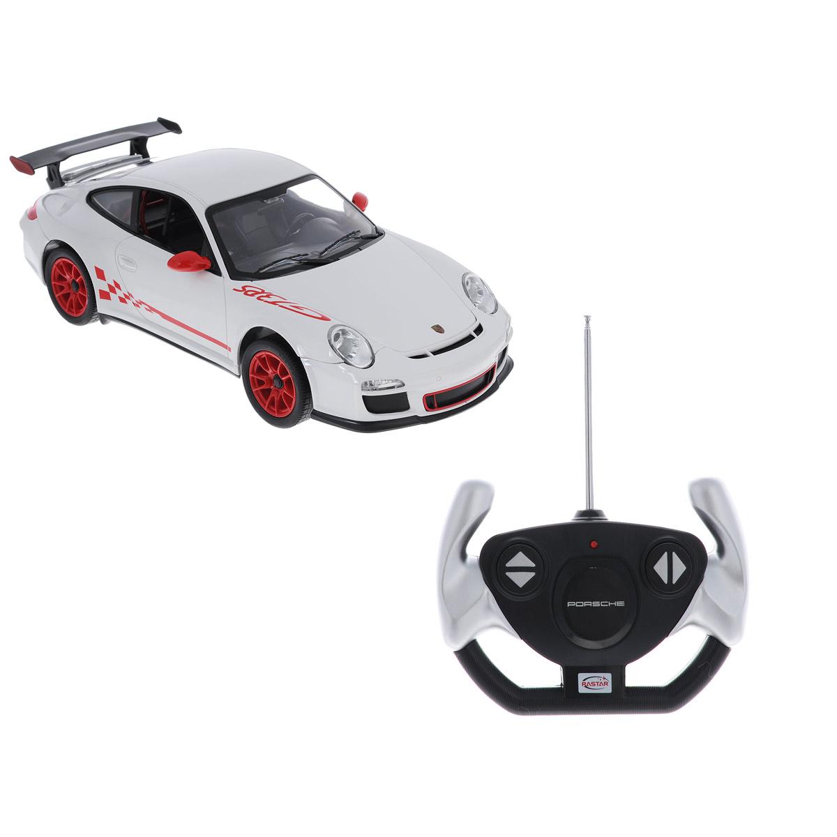 Радиоуправляемая модель Rastar Porsche 911 GT3 RS, цвет: белый. Масштаб 1/1442800Радиоуправляемая машинка Porsche 911 GT3 RS представляет собой точную копию автомобиля известной марки, выполненную в масштабе 1:14 от оригинала. Радиоуправляемая машинка Porsche 911 GT3 RS обладает неповторимым стилем и спортивным характером. Машинка Porsche 911 GT3 RS сделана из качественного пластика с проработкой всех внутренних и внешних деталей. Автомобилем легко управлять с помощью удобного пульта. Машинка очень маневренная и двигается со скоростью до 12км/ч на расстоянии до 40 метров от пульта управления. Машинка Porsche 911 GT3 RS может двигаться вперед, назад, вправо и влево. При движении вперед - горят передние фары, при движении назад - горят задние стоп-сигналы. В комплект входит инструкция по эксплуатации автомобиля на русском языке.