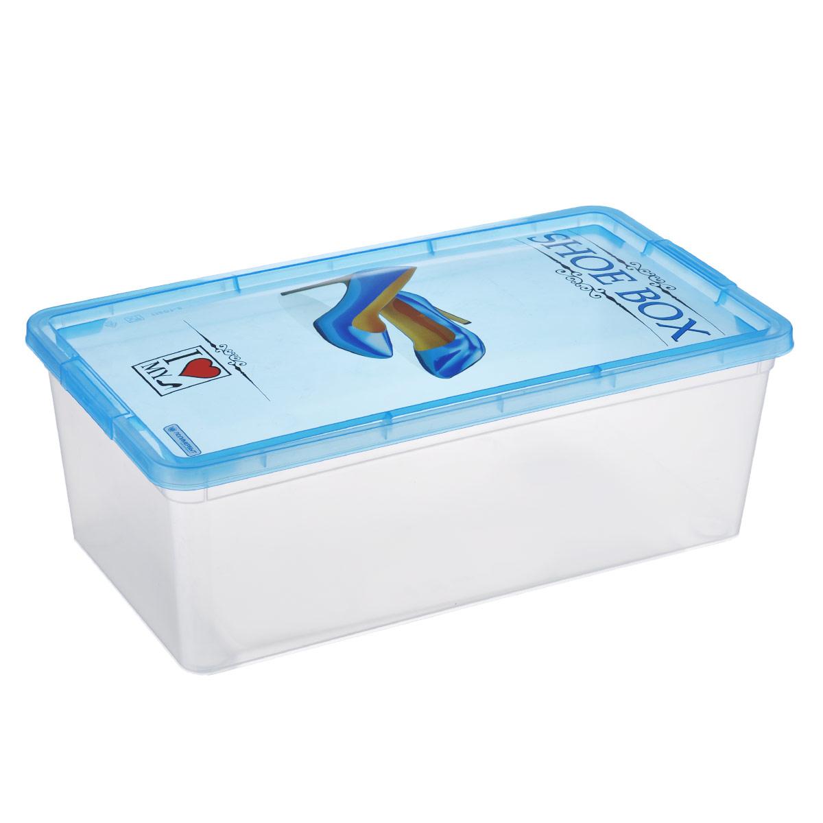 Коробка для обуви Полимербыт Shoe Box, цвет: голубой, 34 см х 19 см х 12 смС51101Коробка для обуви Полимербыт Shoe Box изготовлена из высококачественного прочного пластика. Предназначена для хранения туфель, босоножек, сандалий и другой летней обуви. Коробка плотно закрывается крышкой, украшенной изображением туфель. Яркая и практичная коробка всегда пригодится в домашнем гардеробе.