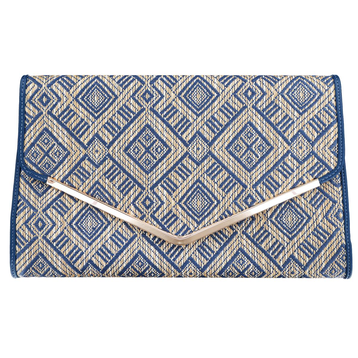 Сумка-клатч театральная Selena, цвет: синий, бежевый. 9005190051Элегантная женская сумка  SELENA выполнена из искусственной кожи и текстиля , оформлена уголком из металла золотистого цвета. Изделие закрывается на магнитный клапан. Внутреннее отделение содержит вшитый карман на застежке-молнии. Модель имеет съемный плечевой ремень-цепочку. Изысканная сумка прекрасно дополнит ваш элегантный образ и подчеркнет безупречный вкус.