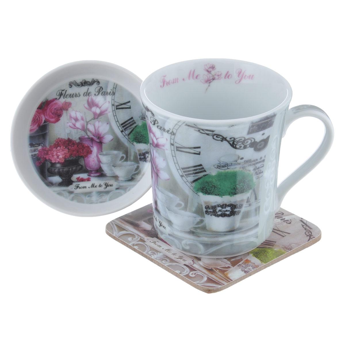 Набор чайный GiftnHome Парижские цветы, 3 предметаM0857NC/3-FdPЧайный набор GiftnHome Парижские цветы состоит из кружки, крышки-блюдца и подставки под кружку. Все изделия декорированы красочным изображением. Кружка и крышка-блюдце изготовлены из высококачественного фарфора. Крышка-блюдце может служить подставкой для чайных пакетиков или блюдцем для джема и меда. Подставка под кружку изготовлена из пробки. Ламинированное покрытие подставки обеспечивает стойкость к высоким температурам. Такая подставка защитит поверхность стола от загрязнений и воздействия высоких температур напитка. Оригинальный набор порадует вас своим дизайном и станет неизменным атрибутом чаепития. Чайный набор GiftnHome Парижские цветы прекрасно подойдет в качестве сувенира и привнесет индивидуальности в обычную сервировку стола. Диаметр кружки: 8,5 см. Высота: 9,5 см. Объем: 330 мл. Диаметр крышки-блюдца: 9,5 см. Высота крышки-блюдца: 2 см. Размер подставки: 10 см х 10 см х 2 см.