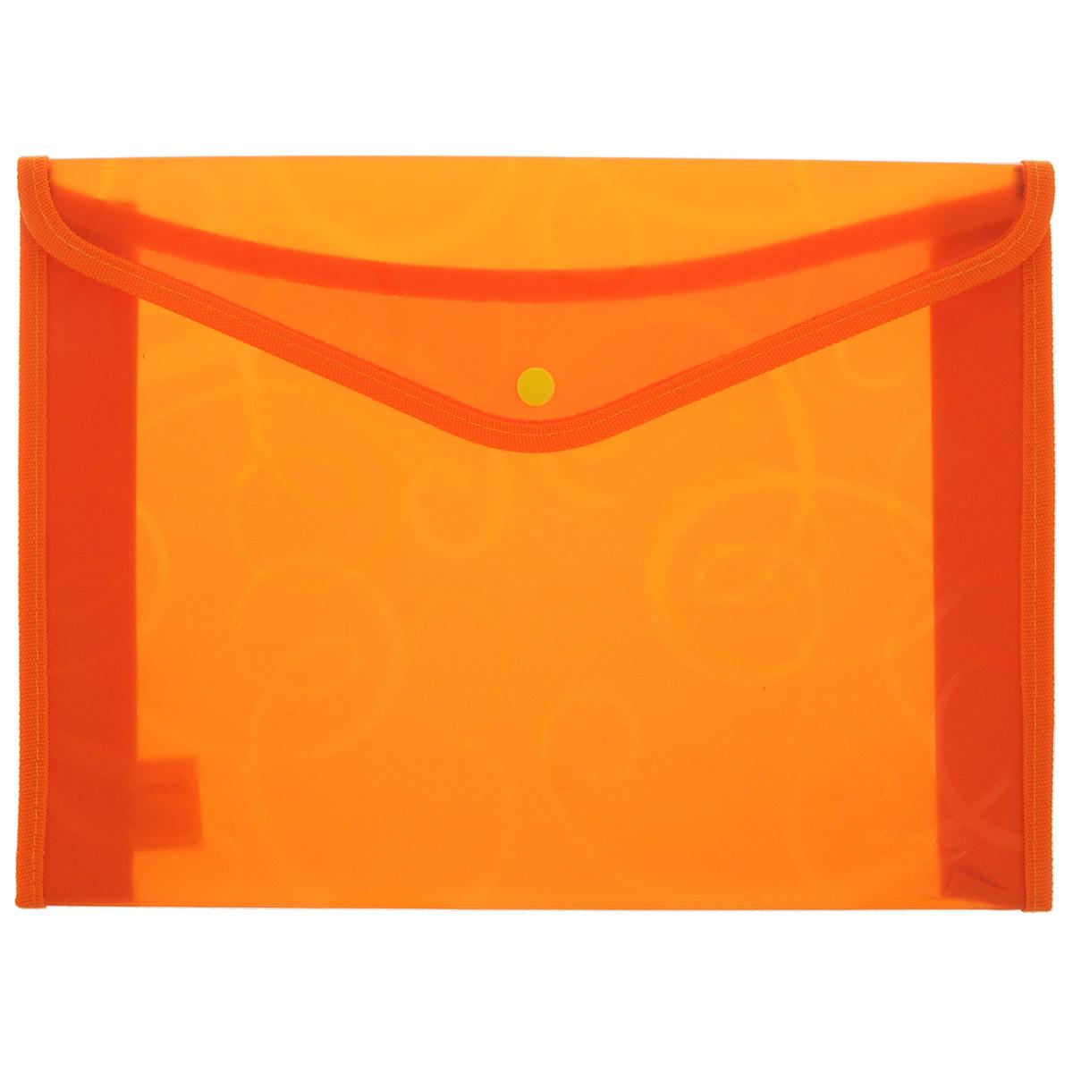 Папка конверт Centrum, на кнопке, цвет: оранжевый, формат А480804 оранжевыйПапка Centrum - это удобный и функциональный инструмент, предназначенный для хранения и транспортировки бумаг и документов формата А4. Обложка папки изготовлена из прочного полупрозрачного пластика, оформлена узором, по канту обработана текстилем. Папка дополнена кнопкой для фиксации. Папка надежно сохранит ваши бумаги и сбережет их от повреждений, влаги и пыли.