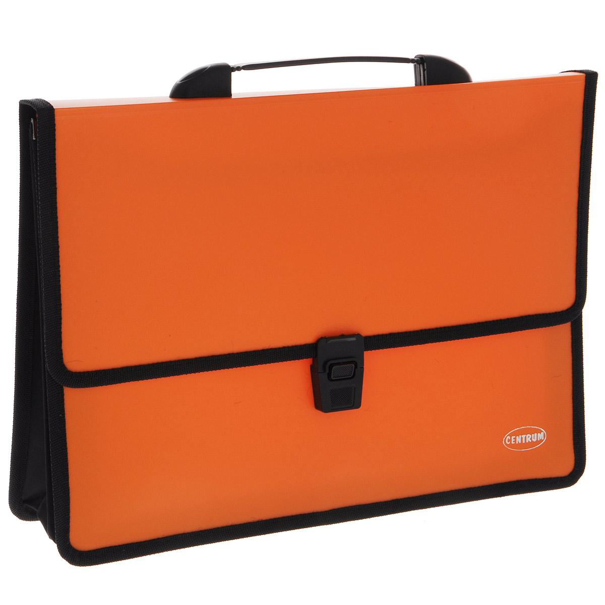 Папка-портфель Centrum, с ручкой, цвет: оранжевый80610 оранжевыйПапка-портфель Centrum станет вашим верным помощником дома и в офисе. Это удобный и функциональный инструмент, предназначенный для хранения и транспортировки больших объемов рабочих бумаг и документов формата А4. Папка изготовлена из износостойкого высококачественного пластика толщиной 0,70 мм, и закрывается на широкий клапан с замком. Состоит из 2 вместительных отделений. Грани папки отделаны полиэстером, а уголки закруглены для обеспечения дополнительной прочности и сохранности опрятного вида папки. Папка имеет удобную ручку для переноски. Папка - это незаменимый атрибут для любого студента, школьника или офисного работника. Такая папка надежно сохранит ваши бумаги и сбережет их от повреждений, пыли и влаги.