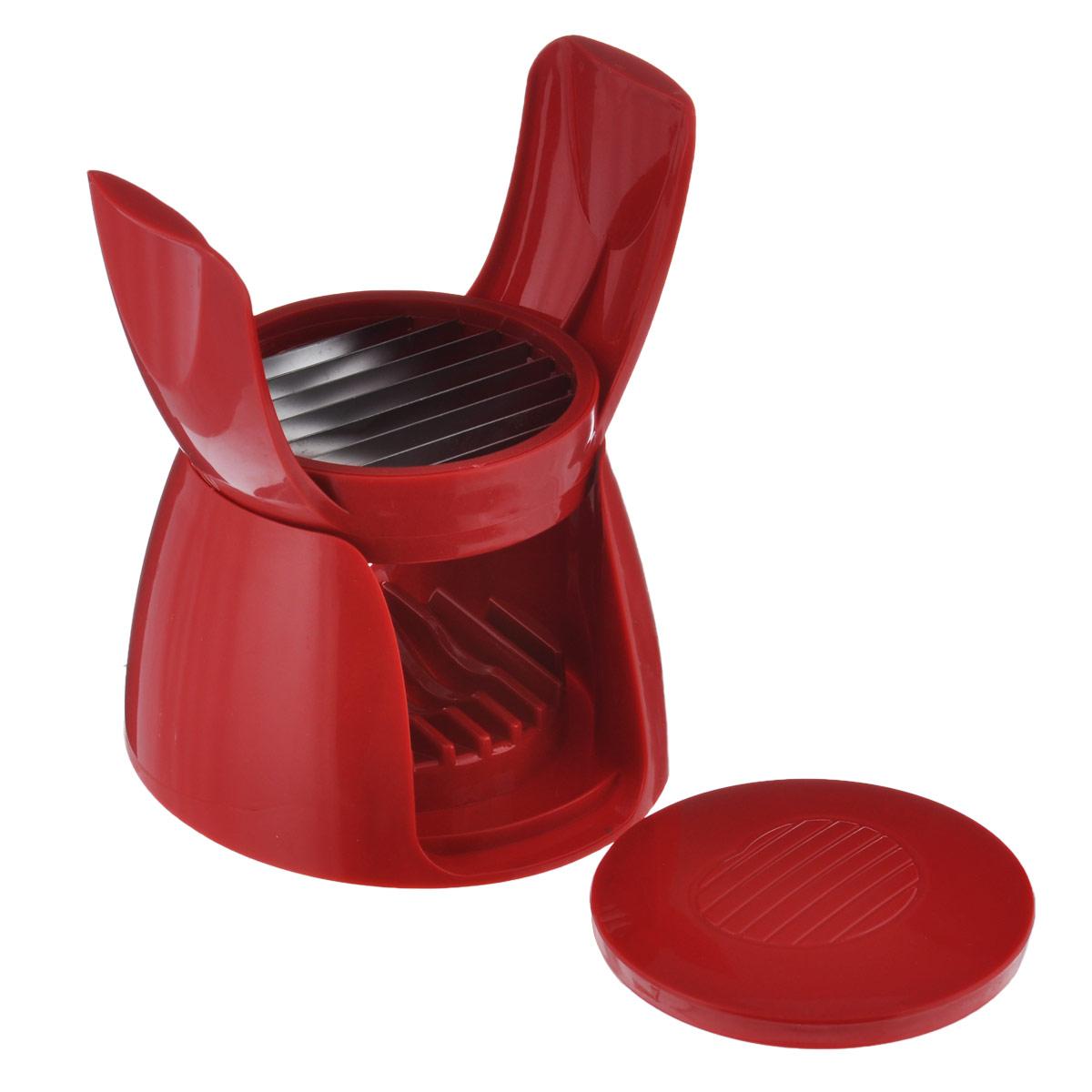 Овощерезка для томатов Bradex Сеньор Помидор, цвет: красныйTD 0071Овощерезка для томатов Bradex Сеньор Помидор выполнена из прочного пищевого пластика с лезвиями из нержавеющей стали. Если вам нужно порезать идеально ровными кольцами помидоры для салата, сэндвичей или закусок, то овощерезка для томатов поможет вам сделать это быстро и не пачкая пальцы. Также ее можно использовать для мягких сортов сыра, вареных овощей, фруктов. Кольца нарезанных продуктов будут идеально одинаковой толщины. С этой овощерезкой вы гораздо быстрее справитесь с приготовлением вкусных и любимых блюд не только в праздники, но и в будни. Все вышеперечисленные продукты вы сможете порезать идеальными ровными кольцами всего лишь одним нажатием. Размер овощерезки в сложенном виде: 12,5 см х 12,5 см х 9 см.