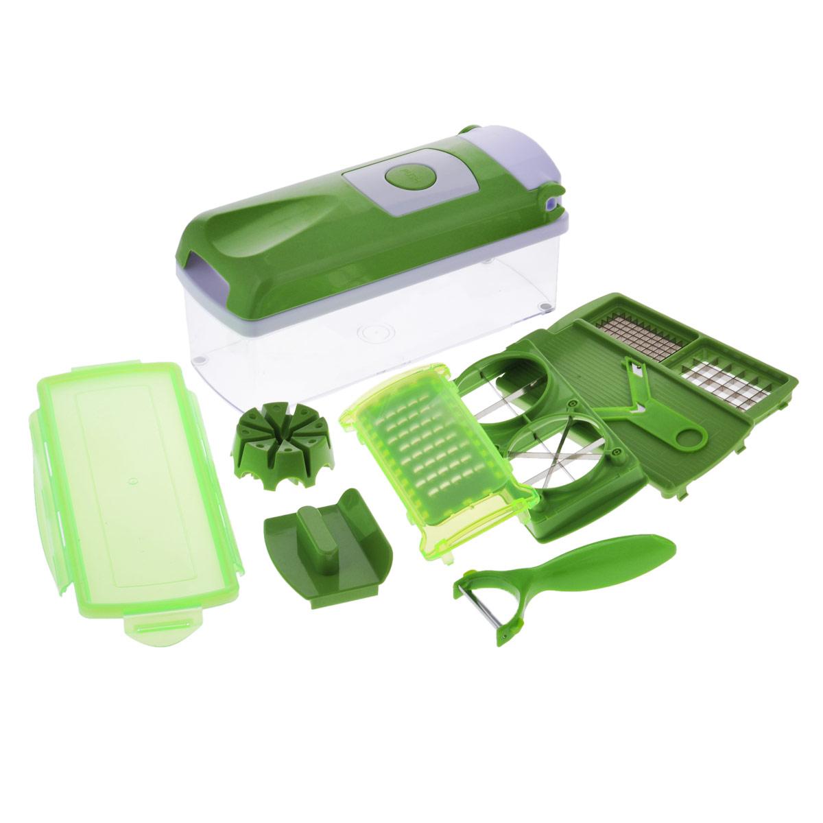Овощерезка Nicer-Dicer ПЛЮС с контейнером22745Овощерезка Nicer-Dicer - это многофункциональный прибор, который поможет быстро нарезать фрукты и овощи. В комплекте: - лезвие для нарезки кольцами, - насадка для нарезания кольцами, - защитный кожух для насадок, - профессиональная овощечистка, - защитное приспособление для удержания продукта, - устройство для проталкивания продукта, - вкладыш для нарезки, - крышка с механизмом измельчения, - прозрачный контейнер для хранения и сбора объемом 1,5 л., - контейнеры для сбора, - вкладыш для нарезки 2 шт. Такой набор поможет без труда нарезать продукты кубиками, ломтиками или соломкой. Предметы набора можно мыть в посудомоечной машине. Размер контейнера: 27 см х 10 см х 8 см. Длина овощечистки: 15 см. Длина лезвия овощечистки: 5 см.