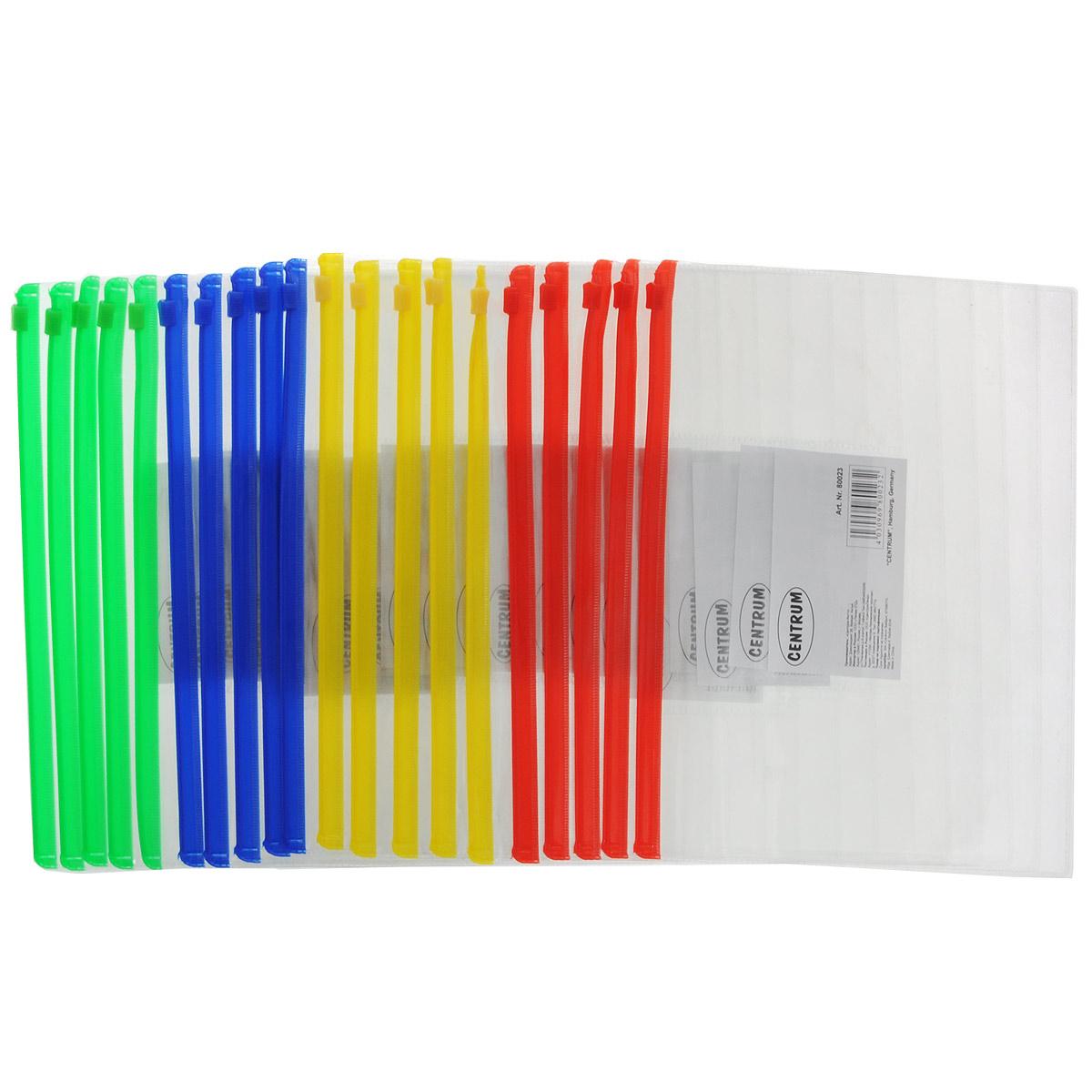 Папка-конверт на молнии Centrum, прозрачная, цвет: зеленый, красный, желтый, синий, формат А5, 20 шт80023_красн_зелен_желт_синПапка-конверт на молнии Centrum - это удобный и функциональный офисный инструмент, предназначенный для хранения и транспортировки рабочих бумаг и документов формата А5. Она изготовлена из прозрачного глянцевого пластика, имеет практичную застежку-молнию и имеет прозрачный боковой карман. В комплект входят 20 папок формата A5. Папка-конверт - это незаменимый атрибут для студента, школьника, офисного работника. Такая папка надежно сохранит ваши документы и сбережет их от повреждений, пыли и влаги.