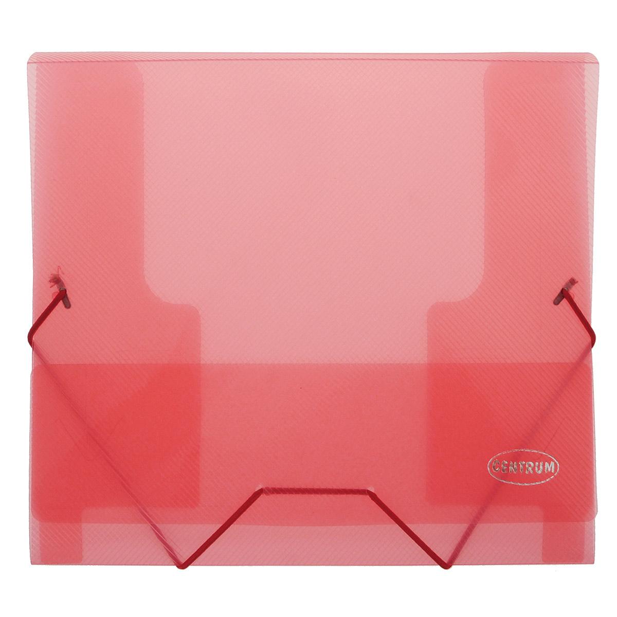 Папка-конверт на резинках Centrum, формат А5, цвет: красный80800 красныйПапка-конверт на резинке Centrum - это удобный и функциональный офисный инструмент, предназначенный для хранения и транспортировки рабочих бумаг и документов формата А5.Папка с двойной угловой фиксацией резиновой лентой изготовлена из износостойкого полупрозрачного полипропилена. Внутри папка имеет три клапана, что обеспечивает надежную фиксацию бумаг и документов. Оформлена тиснением в виде параллельной штриховки. Папка - это незаменимый атрибут для студента, школьника, офисного работника. Такая папка надежно сохранит ваши документы и сбережет их от повреждений, пыли и влаги.