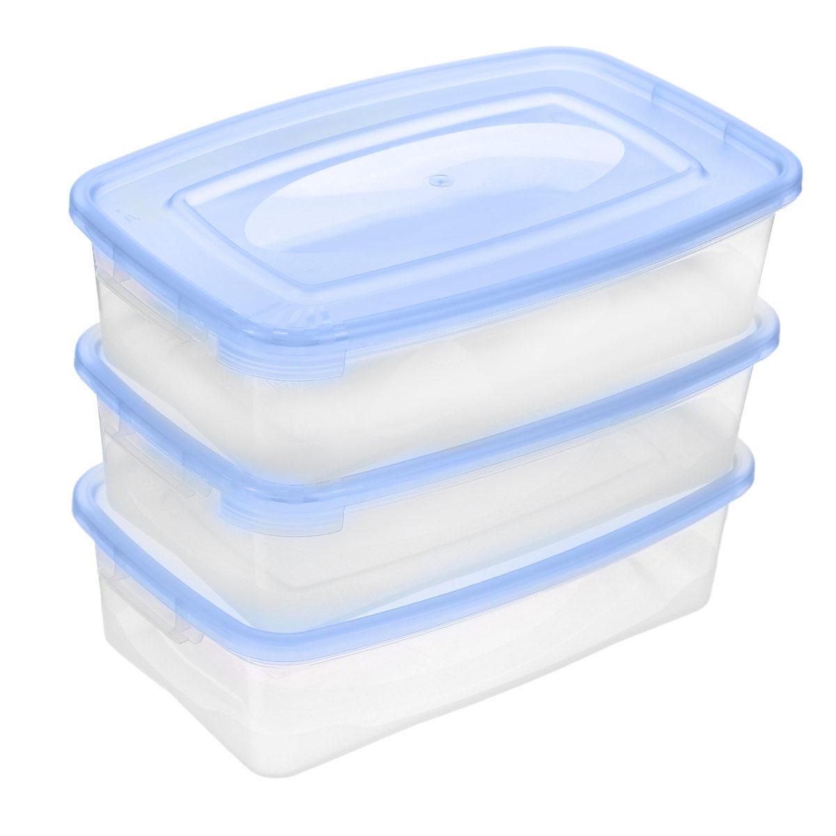 Набор контейнеров Полимербыт Каскад, цвет: голубой, 700 мл, 3 штС54001_голубойНабор контейнеров Полимербыт Каскад изготовлен из высококачественного прочного пластика, устойчивого к высоким температурам. Стенки контейнера прозрачные, что позволяет видеть содержимое. Цветная полупрозрачная крышка плотно закрывается. Контейнер идеально подходит для хранения пищи, его удобно брать с собой на работу, учебу, пикник или просто использовать для хранения пищи в холодильнике. Можно использовать в микроволновой печи при температуре до +120°С (при открытой крышке) и для заморозки в морозильной камере при температуре до -40°С. Можно мыть в посудомоечной машине. Комплектация: 3 шт.