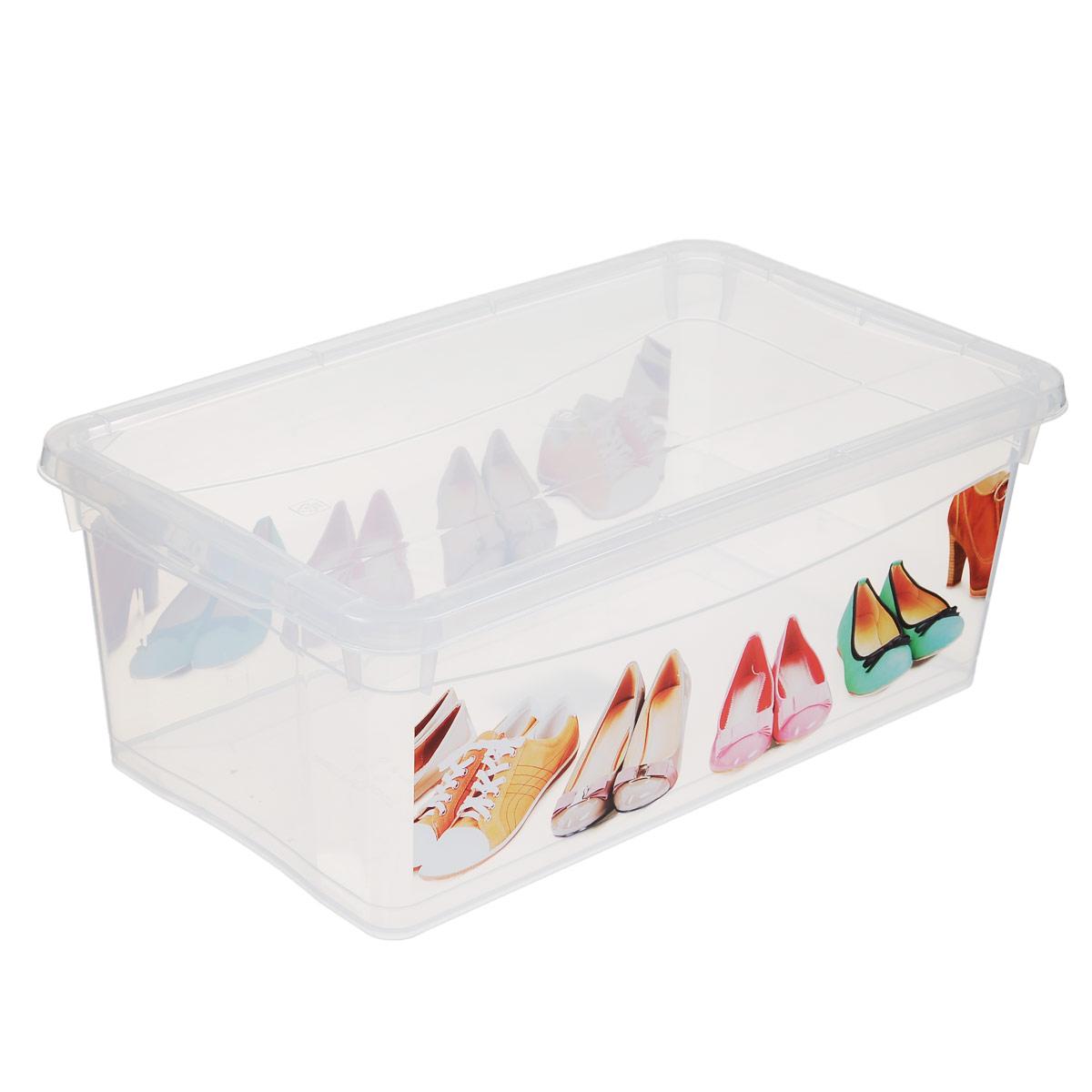 Ящик для обуви Econova Обувь, 33 см х 19 см х 12 смС12883Ящик Econova Обувь выполнен из высококачественного прозрачного полипропилена и предназначен для хранения обуви. Ящик декорирован ярким рисунком и оснащен удобной крышкой. Очень функциональный и вместительный, такой ящик будет очень полезен для хранения вещей, а также защитит их от пыли и грязи.