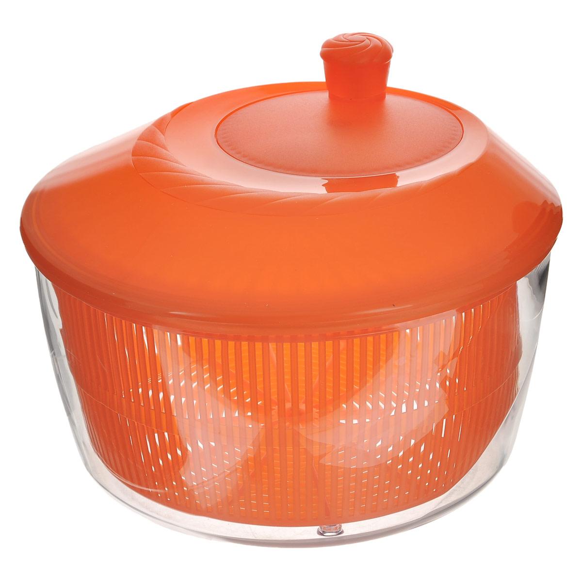 Сушилка для зелени Cosmoplast, цвет: оранжевый, 4,2 л2519_оранжевыйСушилка для зелени Cosmoplast, выполненная из пищевого пластика, состоит из прозрачной емкости, сита и крышки с кнопкой. С ее помощью можно просушивать зелень, салаты и многое другое. Вращением ручки на крышке приводится в действие вращательный механизм, и лишняя влага оседает внизу. Сушилка достаточно вместительная, что позволит ваш просушить сразу весь уже нарезанный салат. Сушилка легко моется и разбирается, что гарантирует максимальную гигиену. Эффект антискольжения обеспечивают удобные ножки и ручка вращения. Функциональность, прочность и универсальность сделают такую сушилку незаменимым аксессуаром для приготовления ваших любимых блюд. Объем: 4,2 л. Диаметр (по верхнему краю): 26 см. Высота (без учета крышки): 13 см. Высота (с учетом крышки): 18 см.