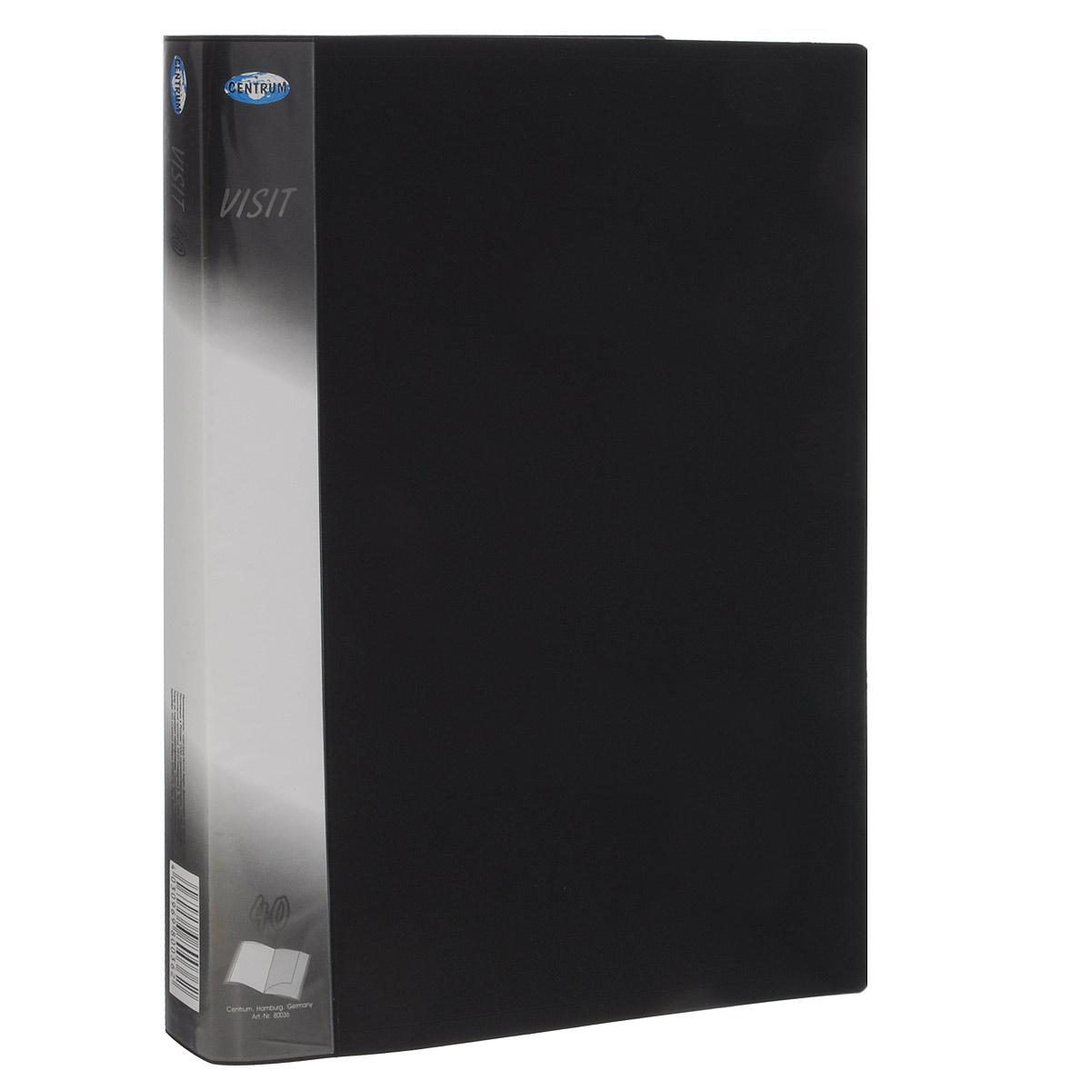 Папка с файлами Centrum Visit, пластиковая, 40 листов, формат А4, цвет: черный80036Папка Centrum Visit с 40 прозрачными вкладышами-файлами предназначена для хранения и презентации документов формата А4. Папка изготовлена из полупрозрачного фактурного пластика, благодаря чему документы, помещенные в нее, будут надежно защищены. Прочное соединение папки и вкладышей обеспечено за счет их лазерной сварки. Углы папки закруглены. Папка надежно сохранит ваши документы и сбережет их от повреждений, пыли и влаги.