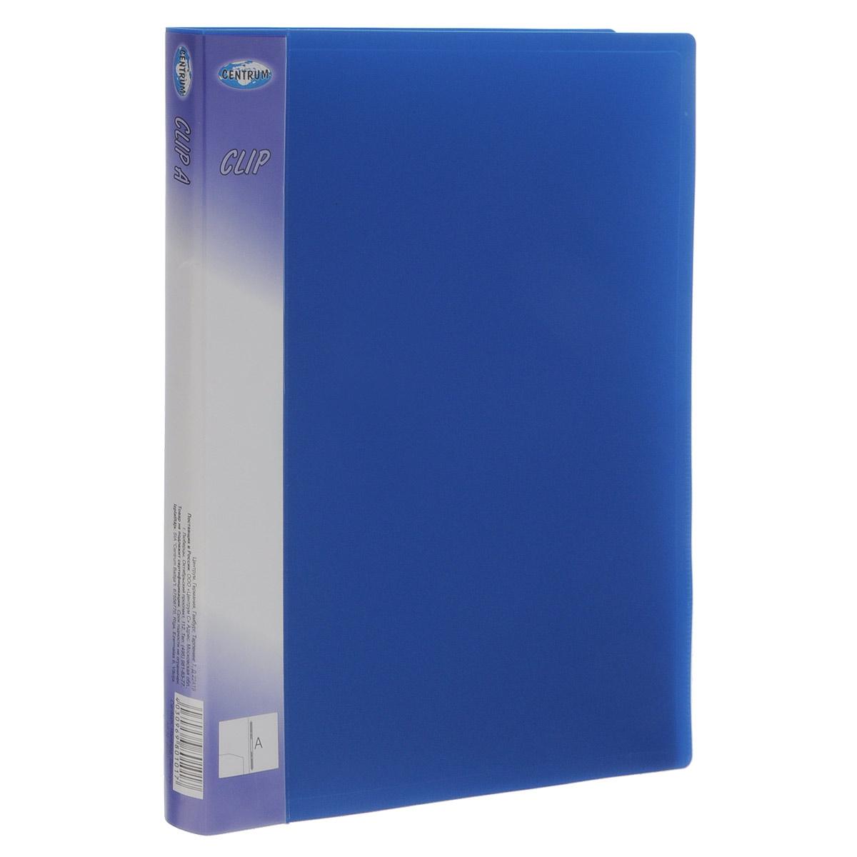 Папка-скоросшиватель Centrum Clip, цвет: синий, формат А480101Папка-скоросшиватель Centrum Clip - это удобный и практичный офисный инструмент, предназначенный для бережного хранения и транспортировки перфорированных рабочих бумаг и документов формата А4. Папка изготовлена из полупрозрачного фактурного пластика, оснащена металлическим пружинным скоросшивателем и дополнена прозрачным кармашком на корешке Папка-скоросшиватель надежно сохранит ваши документы и сбережет их от повреждений, пыли и влаги.