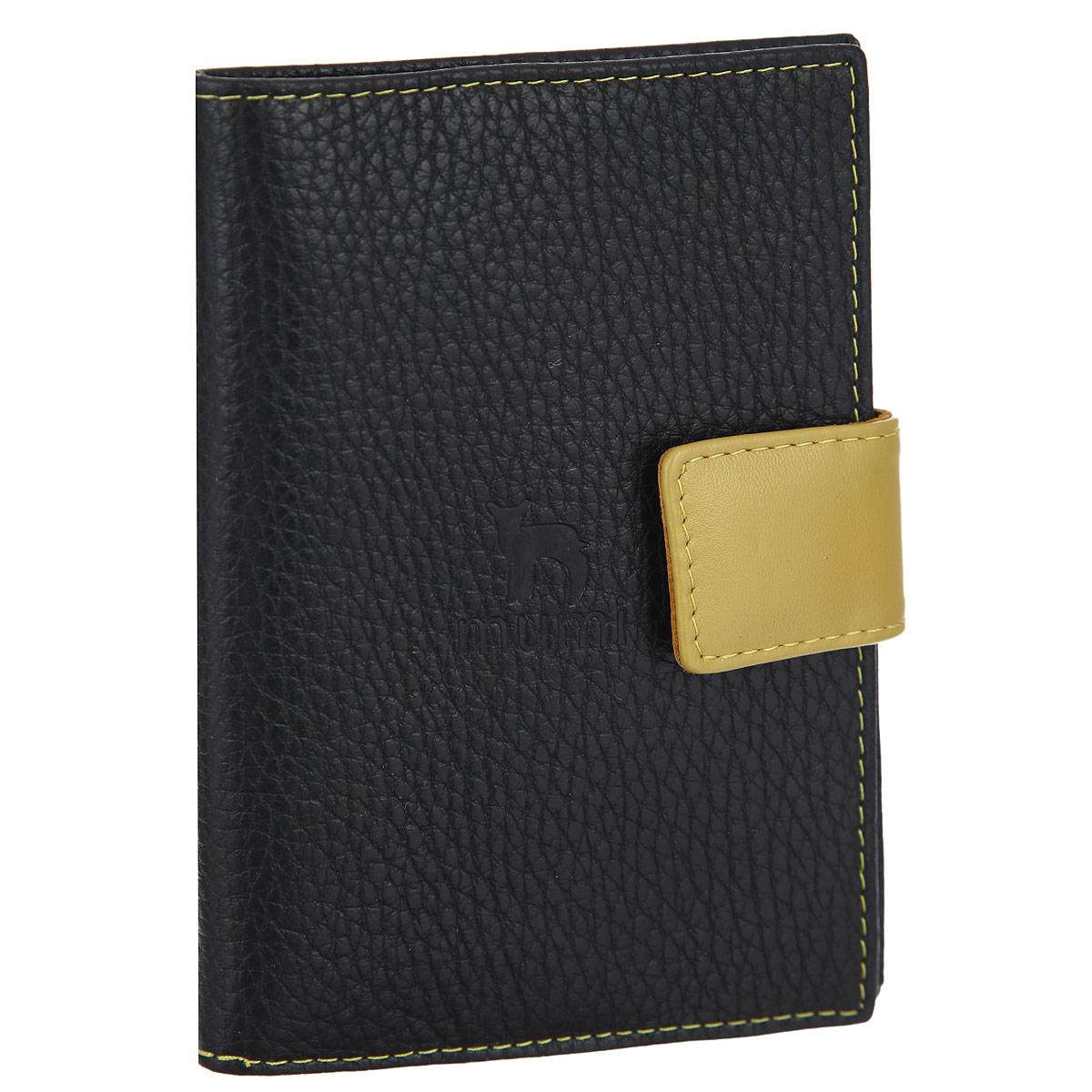 Обложка для паспорта женская Dimanche Mumi, цвет: черный, янтарный. 060060Обложка для паспорта женская Dimanche Mumi выполнена из натуральной кожи в черном, янтарном цвете и оформлена тиснением в виде логотипа коллекции Mumi. Закрывается при помощи хлястика на кнопку. На внутреннем развороте слева имеется дополнительный кармашек. Обложка для паспорта упакована в фирменную пластиковую сумку-чехол с логотипом бренда. Обложка не только поможет сохранить внешний вид ваших документов и защитить их от повреждений, но и станет стильным аксессуаром, идеально подходящим вашему образу!