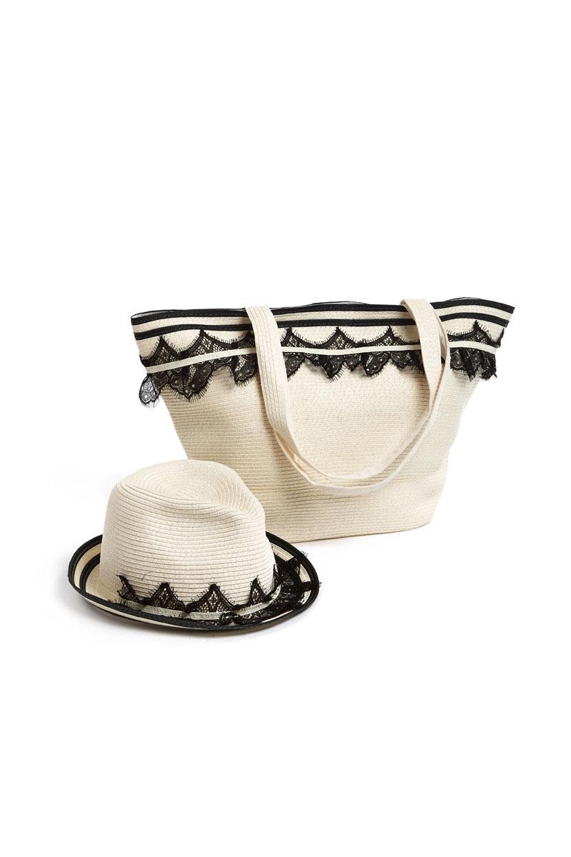 Комплект Moltini: сумка, шляпа, цвет: молочный, черный. 15A00215A002Оригинальный пляжный комплект Moltini, состоящий из сумки и шляпы, выполнен из плотного текстиля. Комплект выполнен в едином стиле и оформлен кружевом. Сумка состоит из одного вместительного отделения и закрывается на магнитную кнопку. Внутри размещены два накладных кармана для телефона и мелочей и один вшитый карман на молнии. Оригинальная форма ручек и натуральные материалы делают эту сумку особенно удобной для ношения на плече. Шляпа надежно защитит волосы и лицо от ярких солнечных лучей. Шляпа выполнена в едином стиле с сумкой и достойно завершит комплект. Комплект Moltini идеально подойдет для похода на пляж, для загородной поездки.