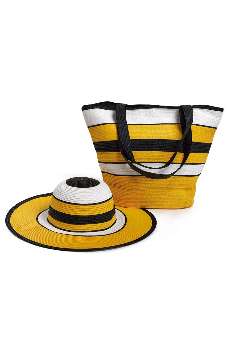 Комплект Moltini: сумка, шляпа, цвет: желтый, черный, белый. 15J01615J016Оригинальный пляжный комплект Moltini, состоящий из сумки и шляпы, выполнен из плотного текстиля. Комплект выполнен в едином стиле и оформлен контрастной расцветкой. Сумка состоит из одного вместительного отделения и закрывается на магнитную кнопку. Внутри размещены два накладных кармана для телефона и мелочей и один вшитый карман на молнии. Оригинальная форма ручек и натуральные материалы делают эту сумку особенно удобной для ношения на плече. Шляпа надежно защитит волосы и лицо от ярких солнечных лучей. Шляпа выполнена в едином стиле с сумкой и достойно завершит комплект. Комплект Moltini идеально подойдет для похода на пляж, для загородной поездки.
