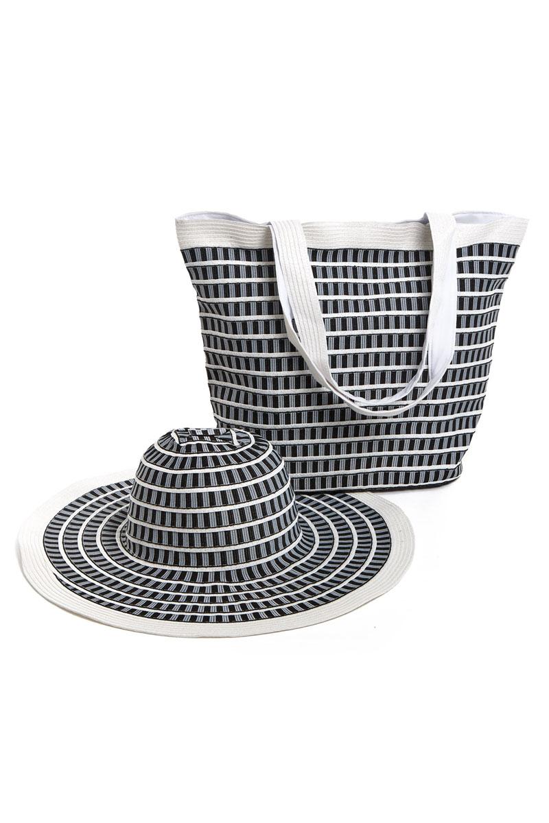 Комплект Moltini: сумка, шляпа, цвет: белый, черный. 15B00315B003Оригинальный пляжный комплект Moltini, состоящий из сумки и шляпы, выполнен из плотного текстиля. Комплект выполнен в едином стиле и оформлен контрастным орнаментом. Сумка состоит из одного вместительного отделения и закрывается на магнитную кнопку. Внутри размещены два накладных кармана для телефона и мелочей и один вшитый карман на молнии. Оригинальная форма ручек и натуральные материалы делают эту сумку особенно удобной для ношения на плече. Шляпа надежно защитит волосы и лицо от ярких солнечных лучей. Шляпа выполнена в едином стиле с сумкой и достойно завершит комплект. Комплект Moltini идеально подойдет для похода на пляж, для загородной поездки.