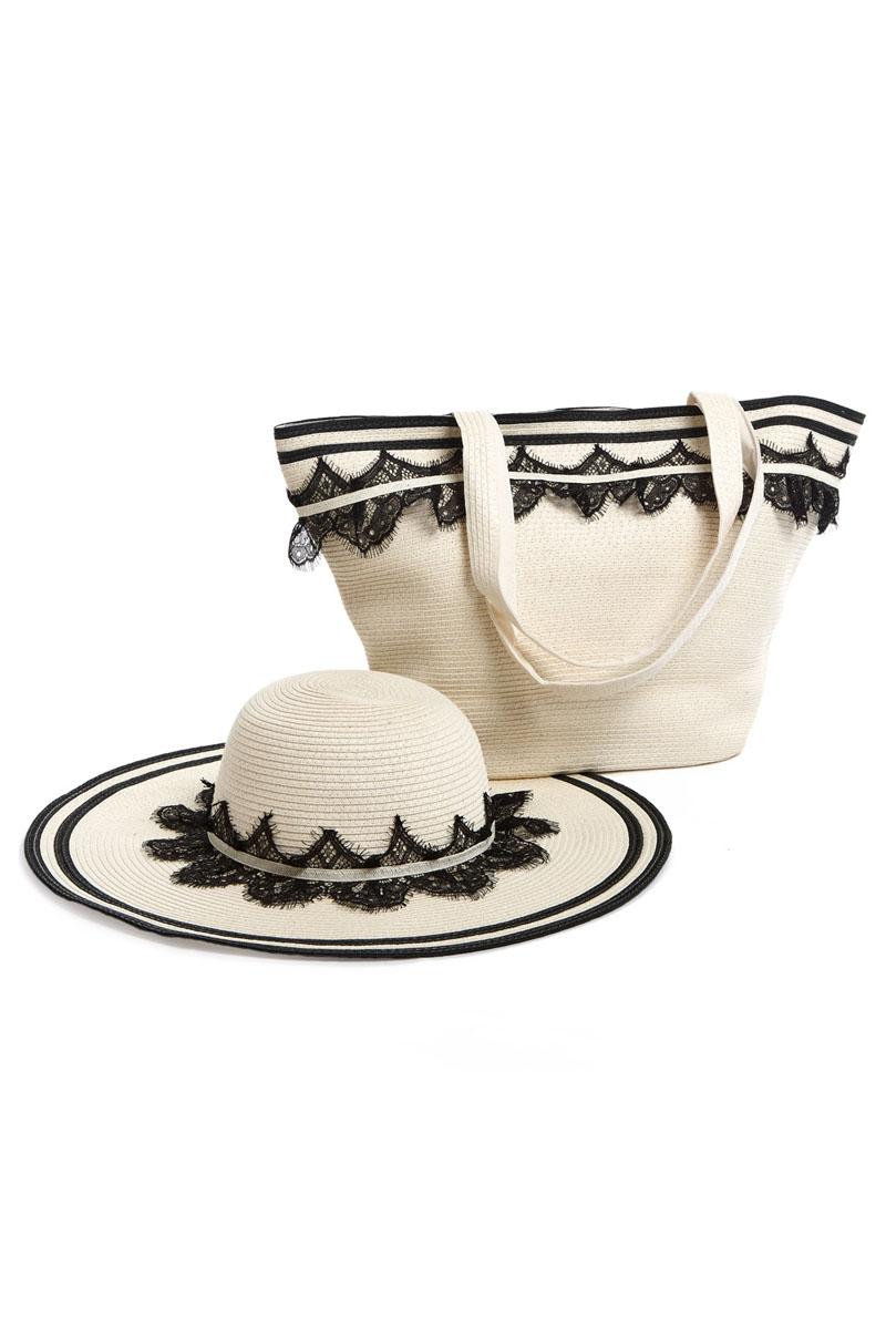 Комплект Moltini: сумка, шляпа, цвет: молочный, черный. 15A00115A001Оригинальный пляжный комплект Moltini, состоящий из сумки и шляпы, выполнен из плотного текстиля. Комплект выполнен в едином стиле и оформлен кружевом. Сумка состоит из одного вместительного отделения и закрывается на магнитную кнопку. Внутри размещены два накладных кармана для телефона и мелочей и один вшитый карман на молнии. Оригинальная форма ручек и натуральные материалы делают эту сумку особенно удобной для ношения на плече. Шляпа надежно защитит волосы и лицо от ярких солнечных лучей. Шляпа выполнена в едином стиле с сумкой и достойно завершит комплект. Комплект Moltini идеально подойдет для похода на пляж, для загородной поездки.