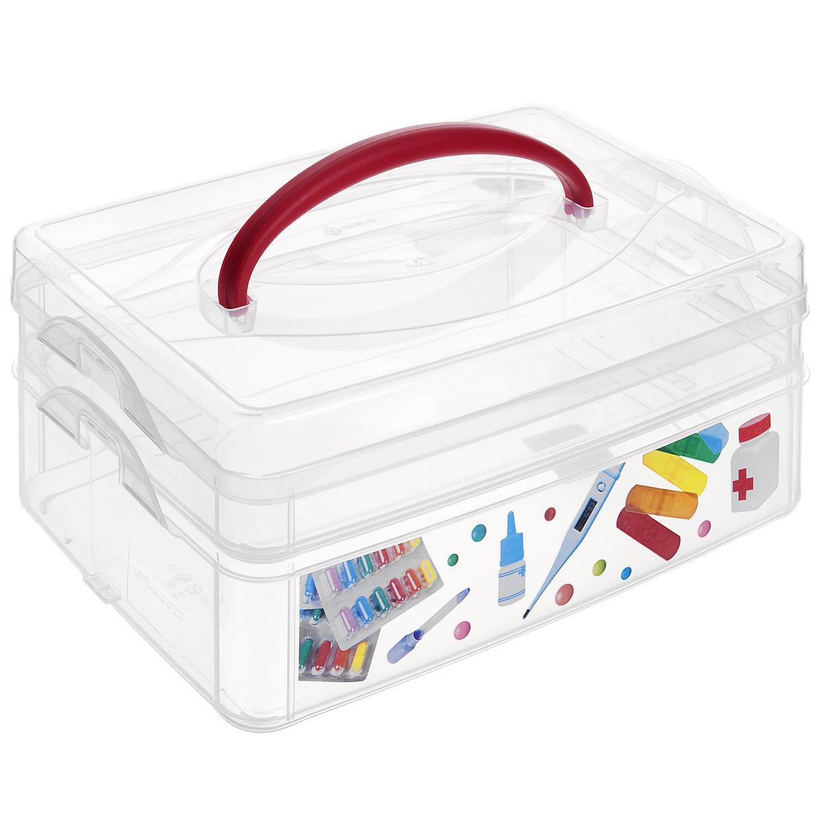 Контейнер для мелочей Econova Multi Box, с ручкой, 2 секции, 24,5 см х 16 см х 10,5 смС12333Контейнер для мелочей Econova Multi Box выполнен из высококачественного прозрачного пластика. Это отличное место для хранения материалов для рукоделия, различных аксессуаров. Изделие декорировано ярким рисунком. Контейнер легко открывается, оснащен двумя съемными отделениями и специальной пластиковой ручкой для переноски. Не требует особого ухода. Благодаря малым габаритам, контейнер занимает очень мало места. Контейнер Econova Multi Box - идеальное решение для аккуратного хранения вещей. Размер маленького отделения: 23,5 см х 15,5 см х 4,5 см. Размер большого отделения: 23,5 см х 15,5 см х 6 см.