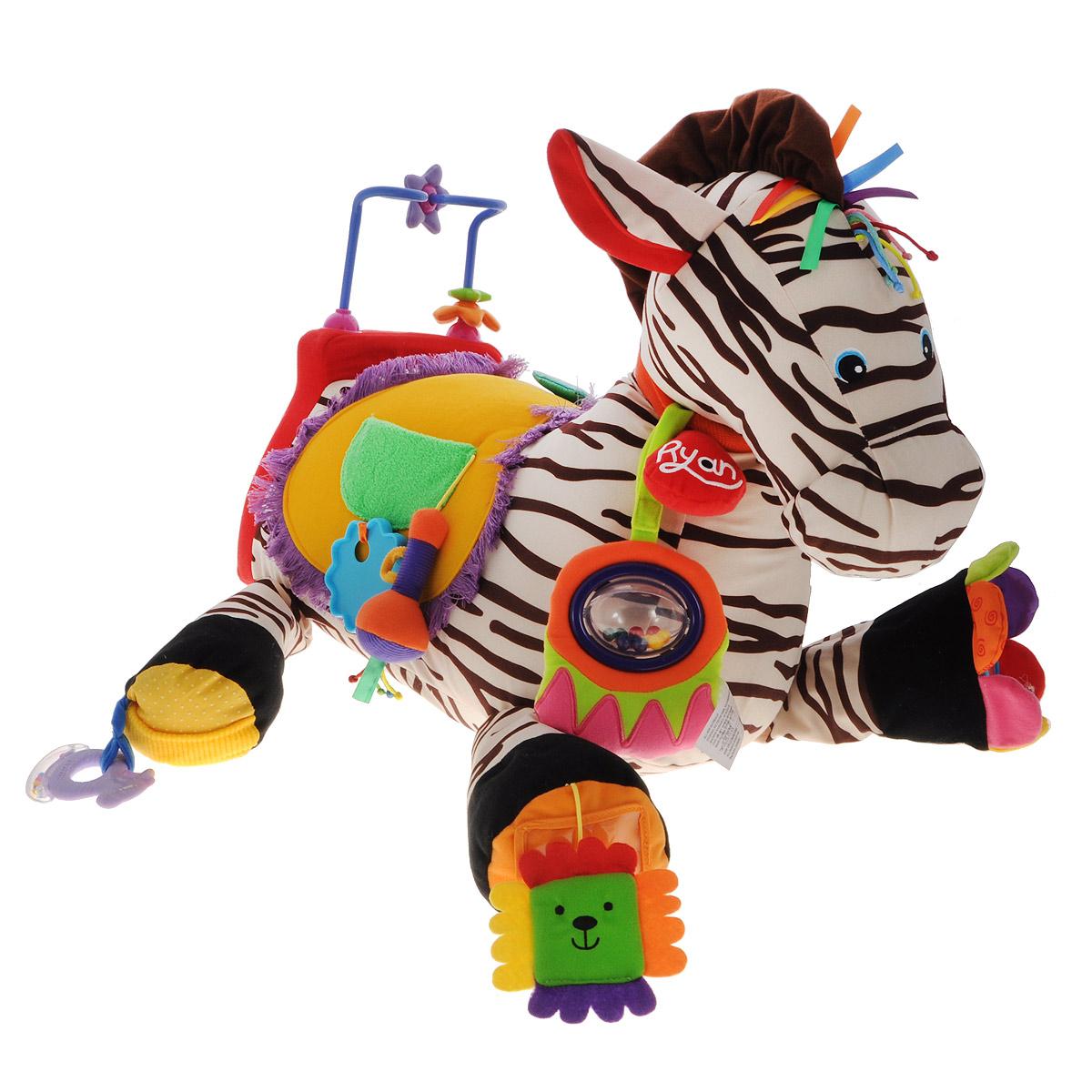 Развивающая игрушка KS Kids Зебра 28, со звуковыми эффектамиKA627Красочная и забавная развивающая игрушка KS Kids Зебра 28 - это настоящий игровой модуль, включающий в себя всевозможные игровые и развивающие элементы. Всего милая полосатая лошадка имеет 28 активных элементов, среди которых есть погремушки, шуршалки, трещалки, пищалки, кармашки с прячущимися в них предметами. Игрушка выполнена из безопасного текстиля, она невероятно мягкая и приятная на ощупь. Крупные размеры игрушки позволят малышу оседлать ее - для этого на спинке зебры предусмотрено декоративное седло. Ушки и грива зебры имеют шуршащую вкладку, на шее лошадки расположены яркие погребушки с разноцветными шариками и бубенчиками. К седлу крепится мягка игрушка-пищалка, кармашек с пластиковой формочкой, и 3 фигурки на липучках. Копыта игрушки дополнены мягкой подвеской, которая прячется в прозрачный кармашек, прорезывателем-погремушкой, диском-трещоткой и безопасным зеркальцем. На спинке расположена удобная пластиковая ручка, на которую нанизаны разноцветные цветочки,...