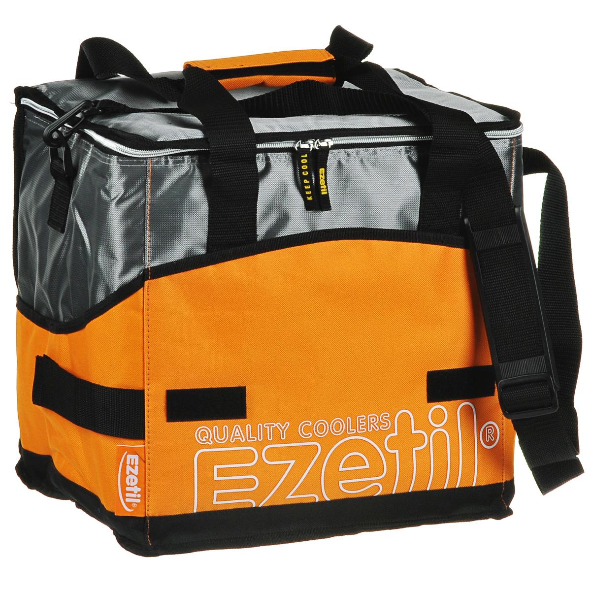Сумка-холодильник Ezetil KC Extreme, цвет: оранжевый, 28 л726883Сумка-холодильник Ezetil KC Extreme предназначена для транспортировки и хранения продуктов и напитков. Сумка изготовлена из высококачественного полиэстера, внутренняя поверхность отделана специальным термоизоляционным материалом PEVA толщиной 8 мм, безопасным для контакта с пищевыми продуктами. Внешняя светоотражающая ткань является дополнительным барьером, обеспечивающим надежное удержание холода внутри. Изделие произведено с использованием экологически безопасных и гигиеничных материалов, как внутри, так и снаружи, не содержащих в себе поливинилхлорид. 100% герметичность изотермической сумки обеспечивается современной технологией горячей спайки внутренних швов. Многослойная изоляция обеспечивает надежное удержание температуры помещенных в сумку продуктов при ее максимальном заполнении в течение нескольких часов. Сумка фиксируется в сложенном состоянии, имеет съемное дно и практична в уходе. Снаружи имеется 3 кармана на липучках, куда можно положить...