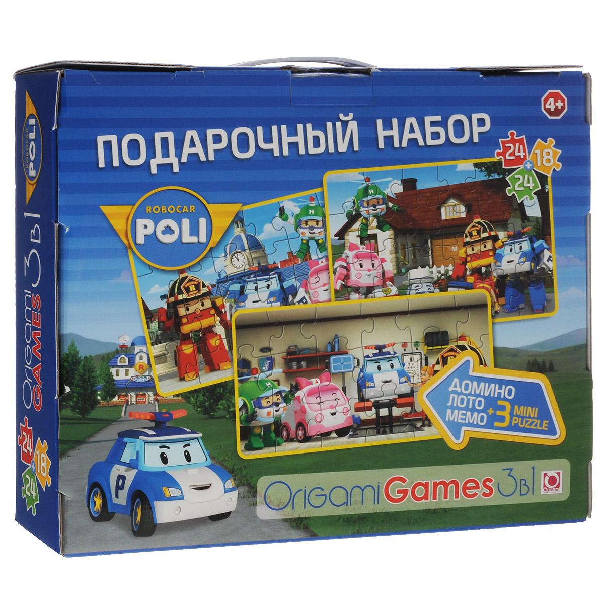 Подарочный набор настольных игр Robocar Poli, 3 в 1: лото, домино, мемо00636Набор настольных игр Robocar Poli содержит 3 игры (лото, домино и мемори), а также 3 мини-пазла (18 элементов и 2х24 элемента). Элементы игр и пазлы оформлены изображениями персонажей одноименного мультсериала. В мультсериале Робокар Поли и его друзья есть 4 основных персонажа. Это роботы-спасатели - 3 машины и 1 вертолет. Большую часть времени они находятся в привычном для людей состоянии, но в случае беды или когда кому-то нужна помощь, они трансформируются в роботов. Для лото вам понадобятся 6 карт лото и 30 карточек с картинками. Каждому участнику выдается большая карта с пятью картинками, каждую из которых надо закрыть карточкой. Игроки по очереди переворачивают карточки, и если находят подходящую, забирают ее себе и выкладывают лицом вверх на такую же картинку на своей карте. Выигрывает тот, кто первым заполнит карточками свою карту. Домино содержит 28 фишек. Положите все карточки на стол картинкой вниз и перемешайте. Определите, кто будет...