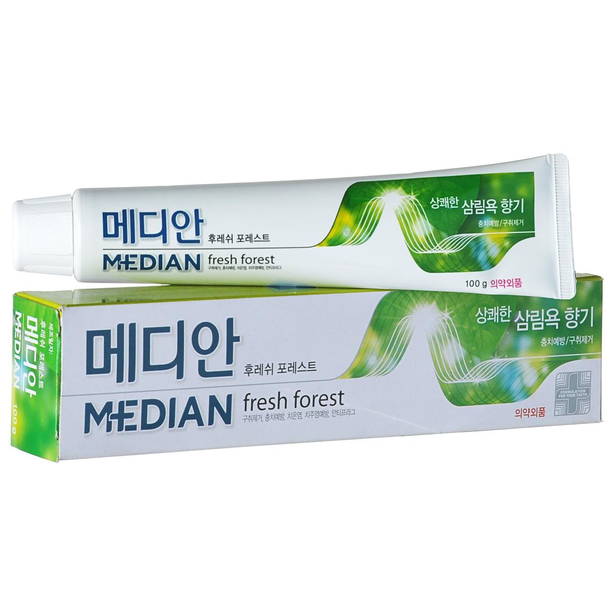 Median Зубная паста Forest, 100 г14275Содержащиеся в зеленом чае флавоноиды и полифенолы, устраняя неприятный запах изо рта, заботятся о свежести дыхания долгое время после чистки. Тетрапирофосфат натрия предотвращает появление зубного камня, являющегося основной причиной изменения цвета зубной эмали. Содержит фитонциды.